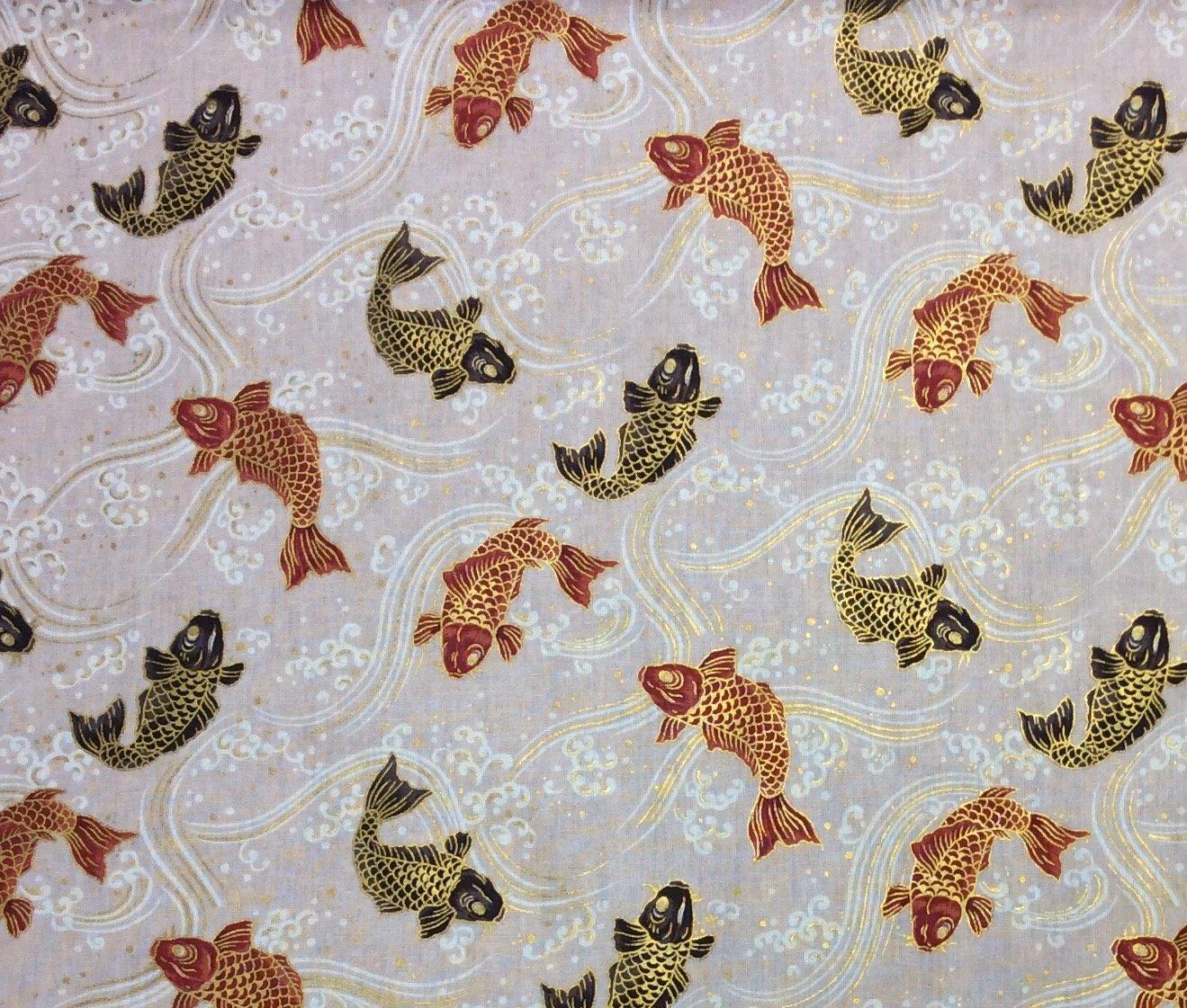 Koi Fish Japanese Asian Kimono Print Cotton Quilt Fabric NT59