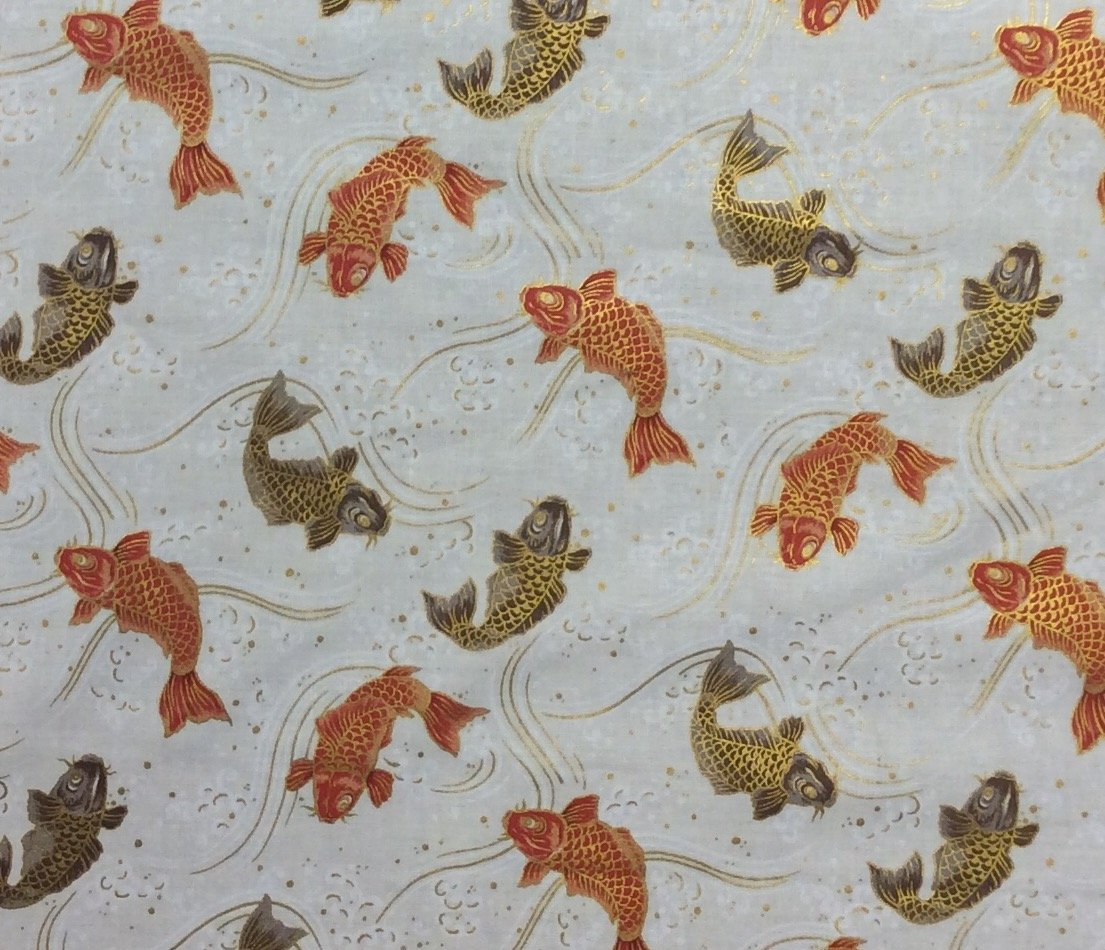 Fat Quarter! Koi Fish Japanese Asian Kimono Print Cotton Quilt Fabric RPFNT60