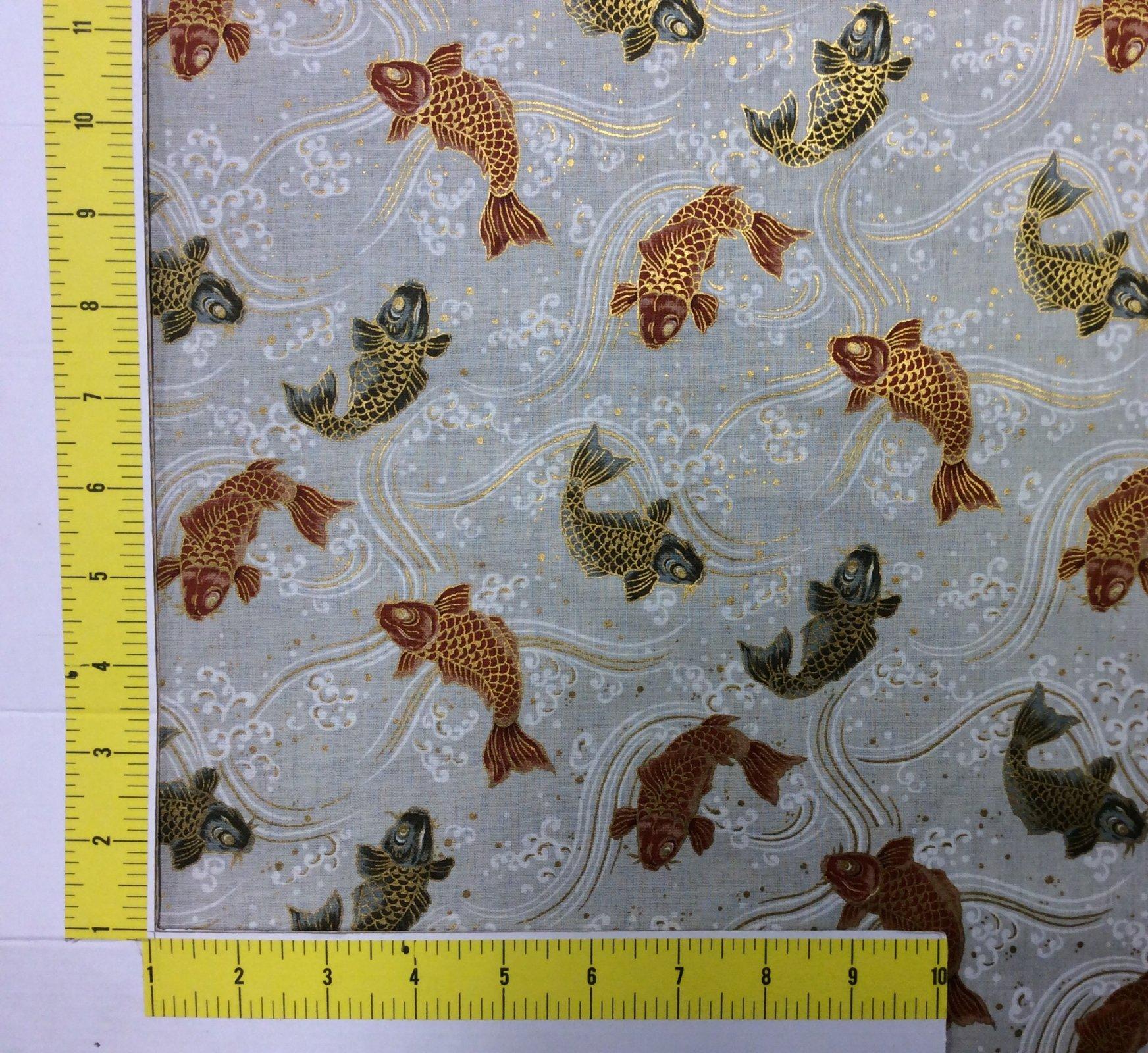 FAT QUARTER! Koi Fish Japanese Asian Kimono Print Cotton Quilt Fabric RPFNT57