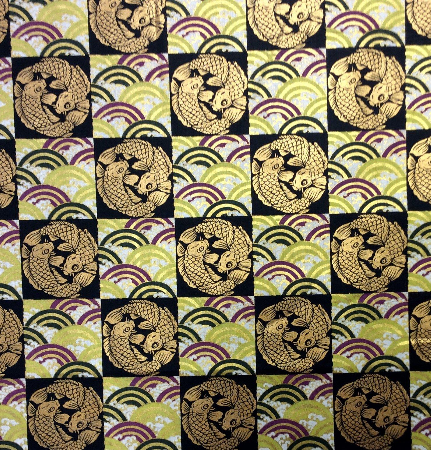Last Piece! Koi Fish Japanese Asian Kimono Print Cotton Quilt Fabric PCNT54