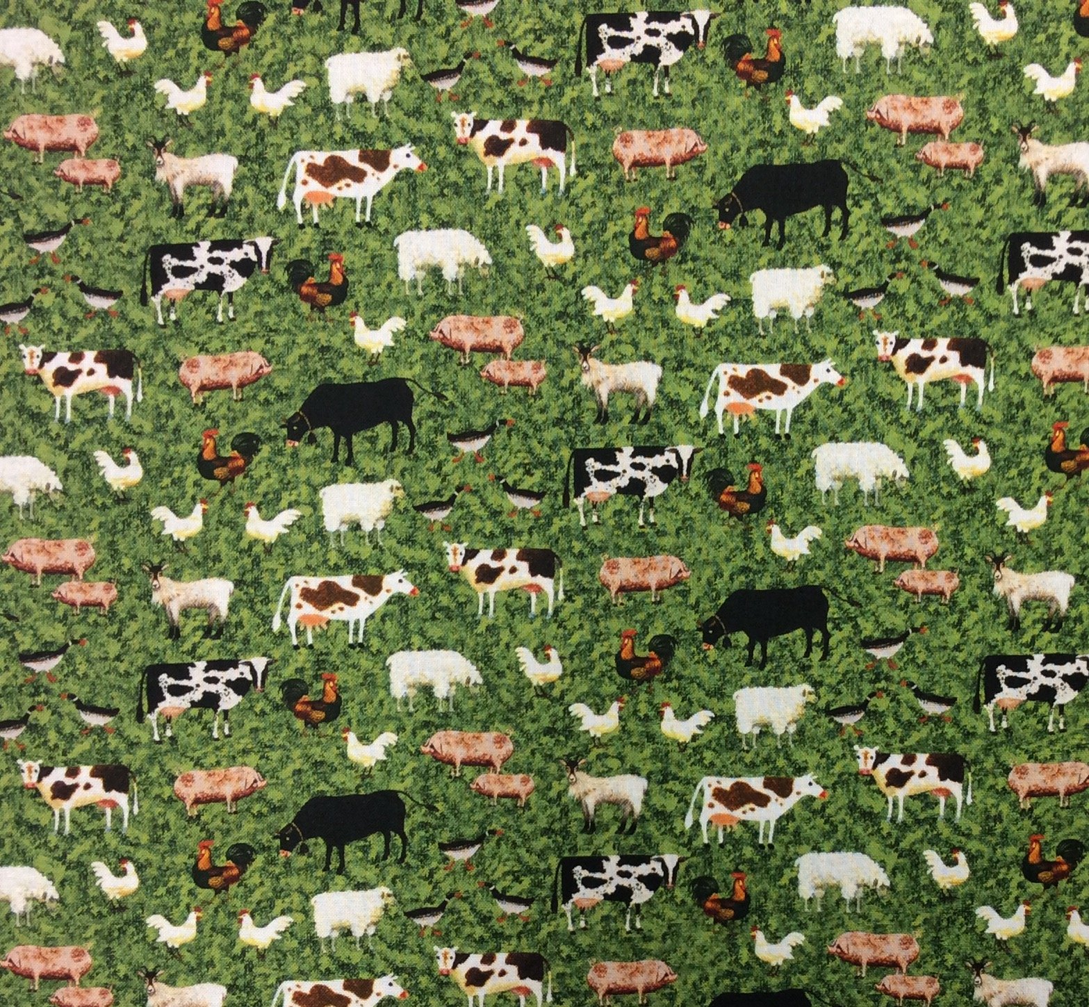 Charles Wysocki American Folk Art Town and Country Barnyard Farm Animals Sheep Cow Pig Livestock Cotton Quilt Fabric NC20