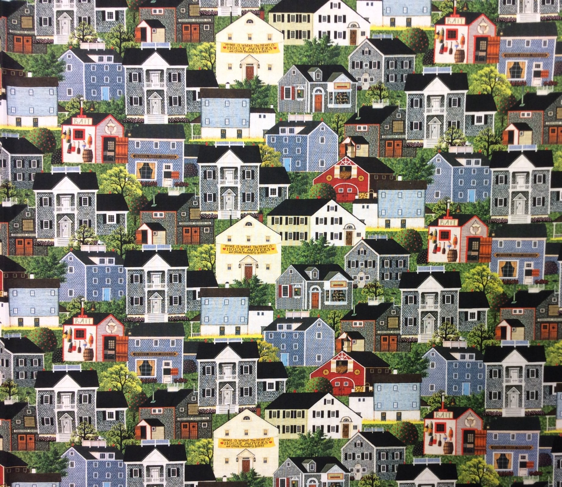 Charles Wysocki American Folk Art Town and Country House Village Cotton Quilt Fabric NC21