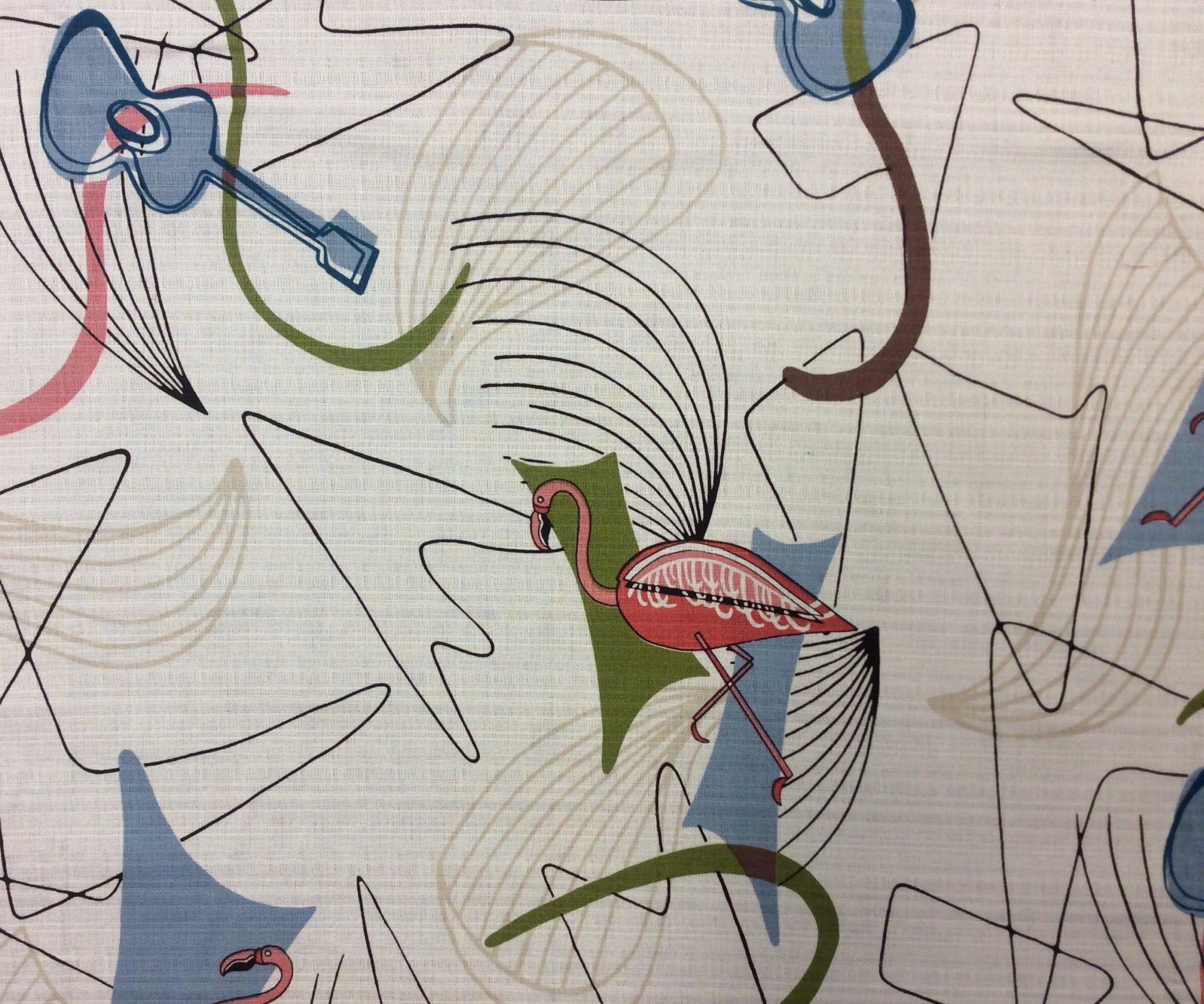 Atomic Retro Barkcloth Flamingo Boomerang Sputnik MCM Mid Century Modern Slubby Texture Home Dec Cotton Fabric HM21