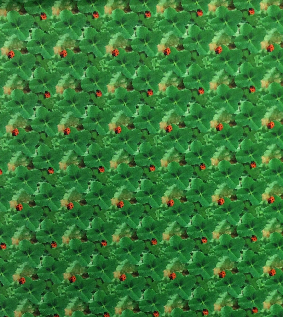 France Ladybug Four Leaf Clovers Good Luck Digital Printed Cotton Quilt Fabric ST10