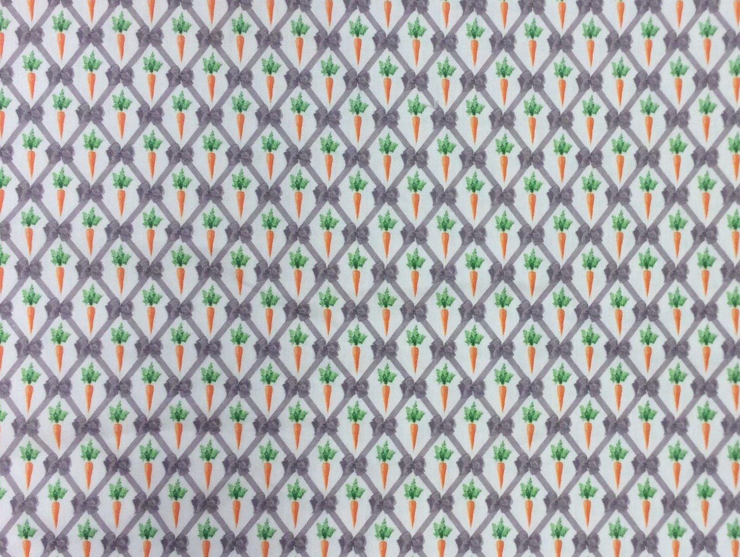 France Bunny Rabbit Carrots Retro Digital Printed  Cotton Quilt Fabric ST08