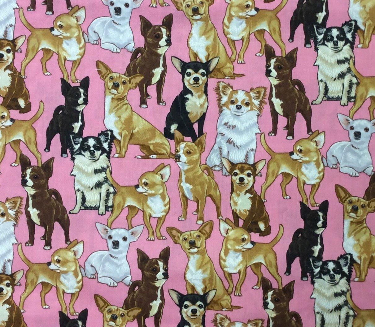 Puppy Dog Cute Fun Chihuahua Dog Cotton Quilt Fabric CHE021
