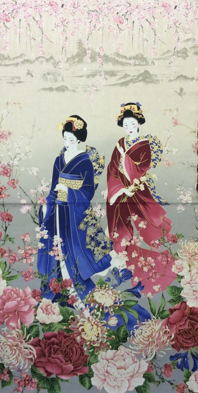 Japanese Asian GEISHA PANEL Cotton Quilt Fabric CHE022