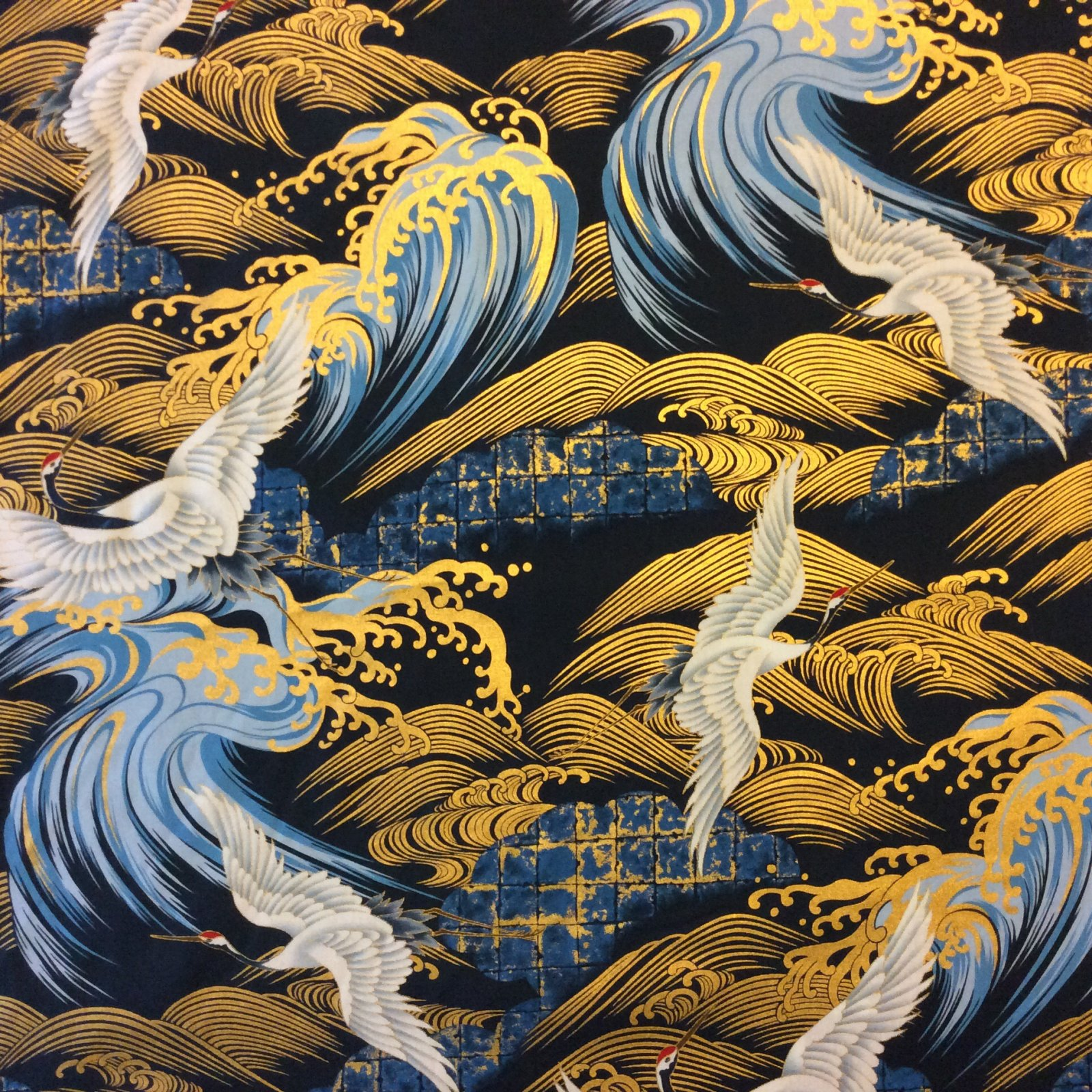 Kona Bay Cranes Waves Birds Japanese Asian Kona Bay Cotton Quilt Fabric KB24