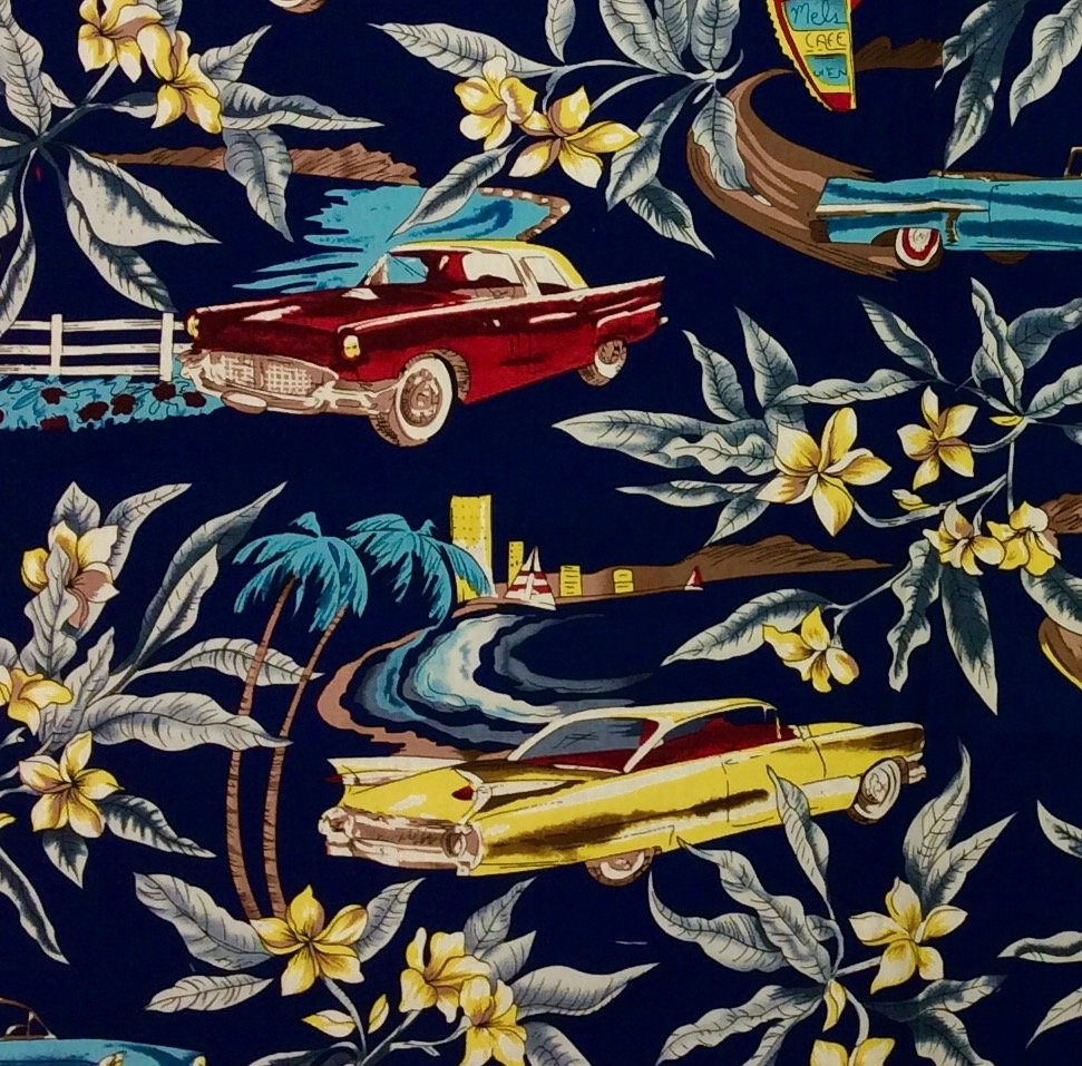 Tropical Surf Tiki Party Hawaii Cars Hot Rods Cotton Fabric HM06