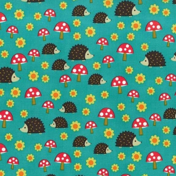 Hedgehogs & Mushrooms Retro Scandinavian Cotton Quilt Fabric MM110