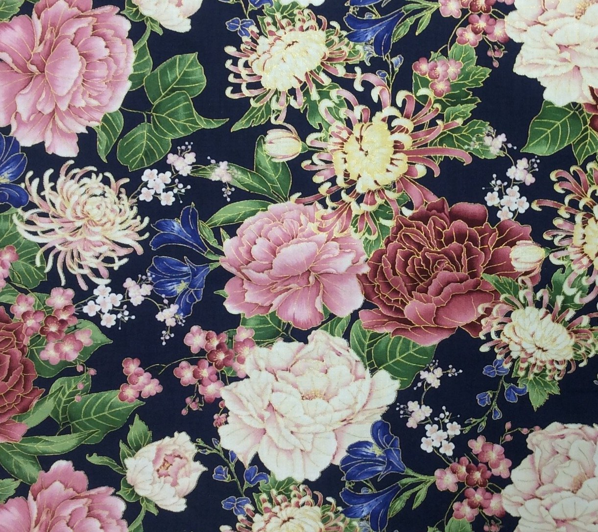 Japanese Asian Chrysanthemum NAVY FLORAL COTTON QUILT FABRIC  CHE024