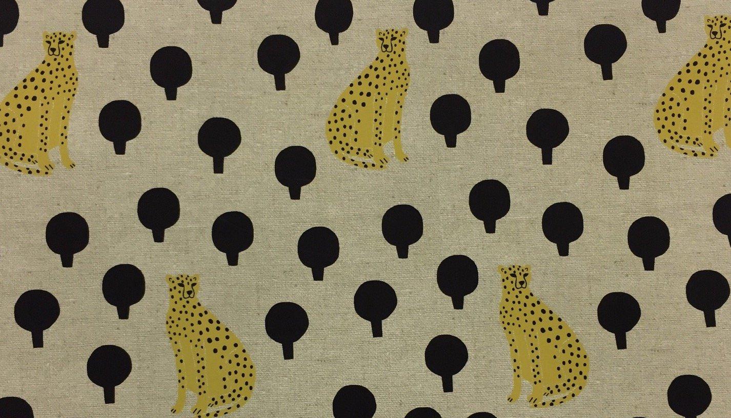 COMING SOON MARCH 2018! Cheetahs Sarah Golden Retro Cotton Linen CANVAS Fabric
