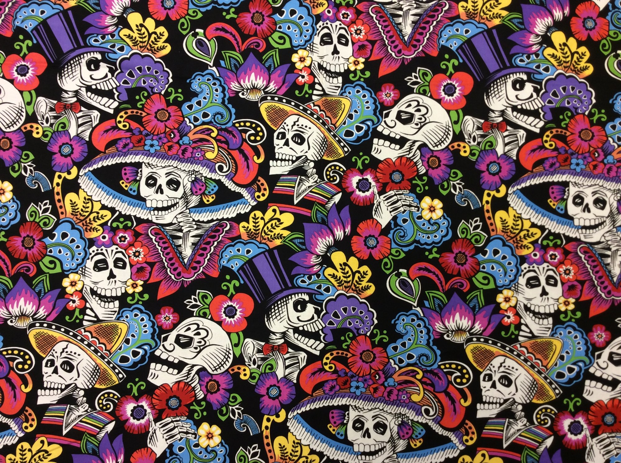 Dia de los Muertos Day of the Dead Frida Kahlo Mexico Latin Posada Catrina Cotton Quilt Fabric AH256