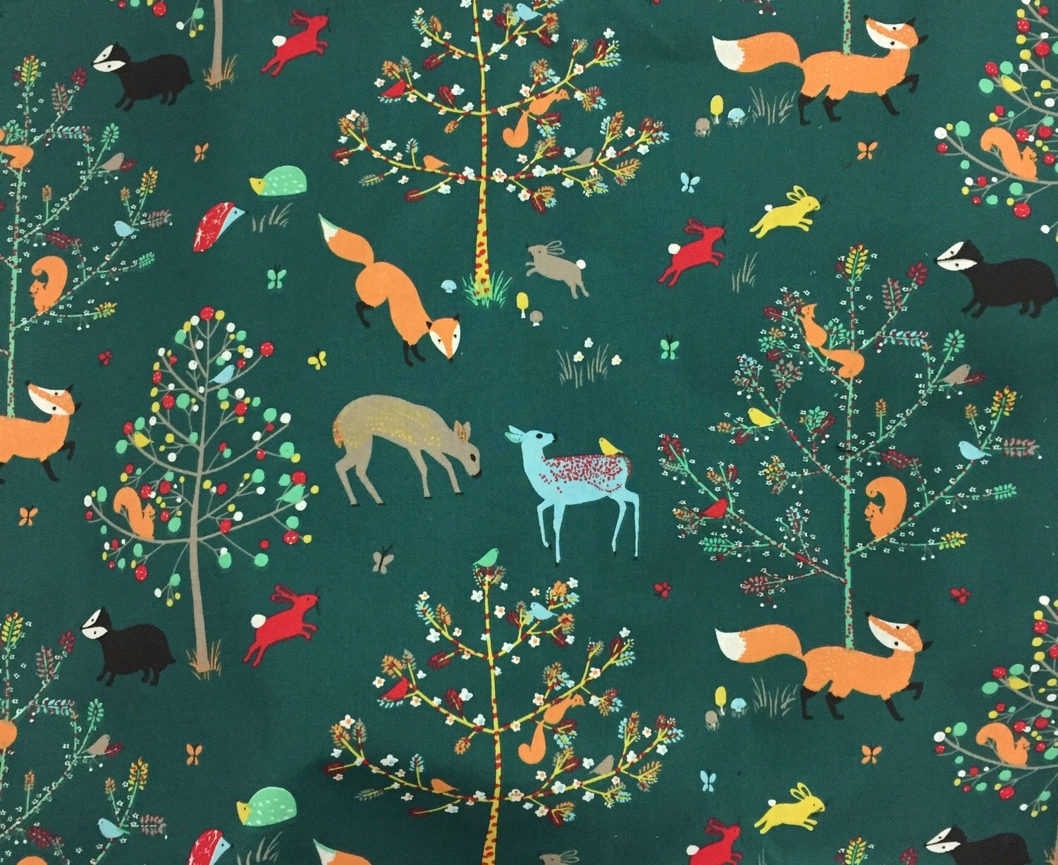 France Retro Scandinavian Fox Forest WIDE Digital Printed Cotton Quilt Fabric ST06