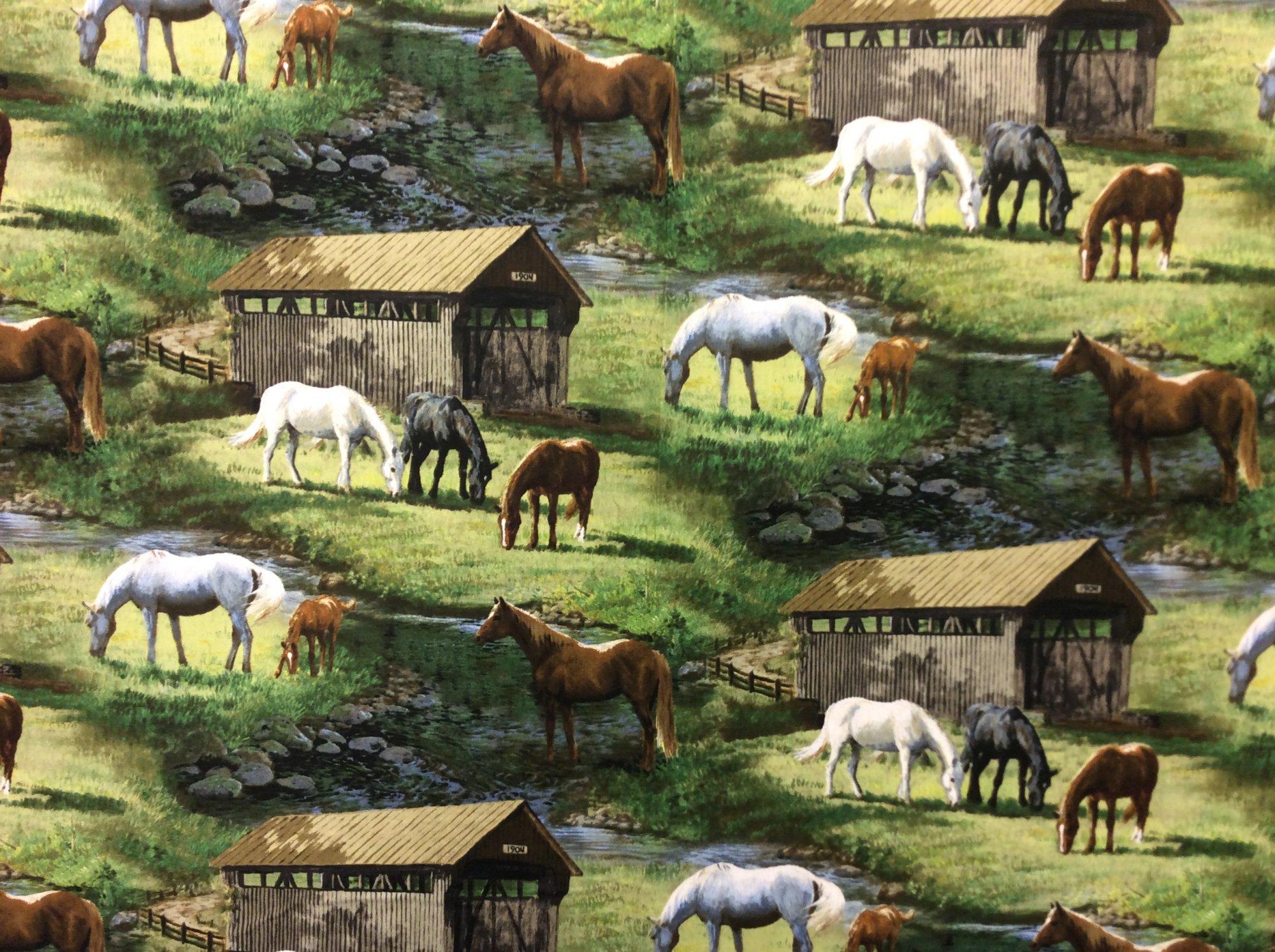 Horse Farm Equestrian Race Horse Pasture Cotton Quilt Fabric FT156