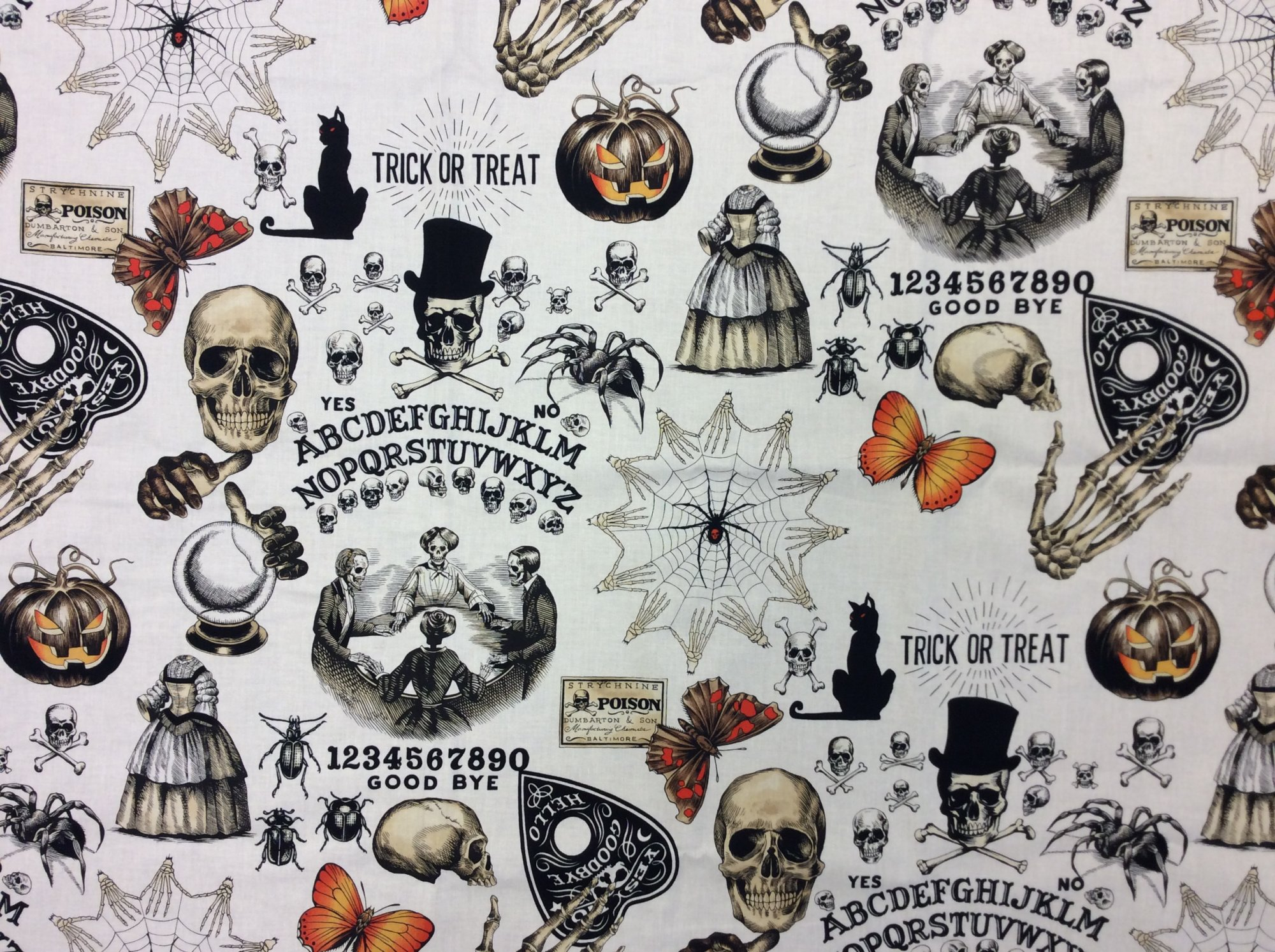 S?ance Skulls Skeletons Cotton Quilt Fabric AH272