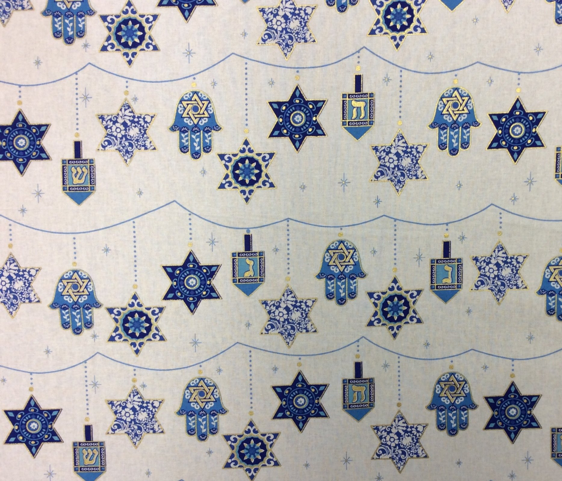 FAT QUARTER! Hanukkah Star of David Chanukah Festival of Lights Holiday Cotton Quilt Fabric RPFMM129