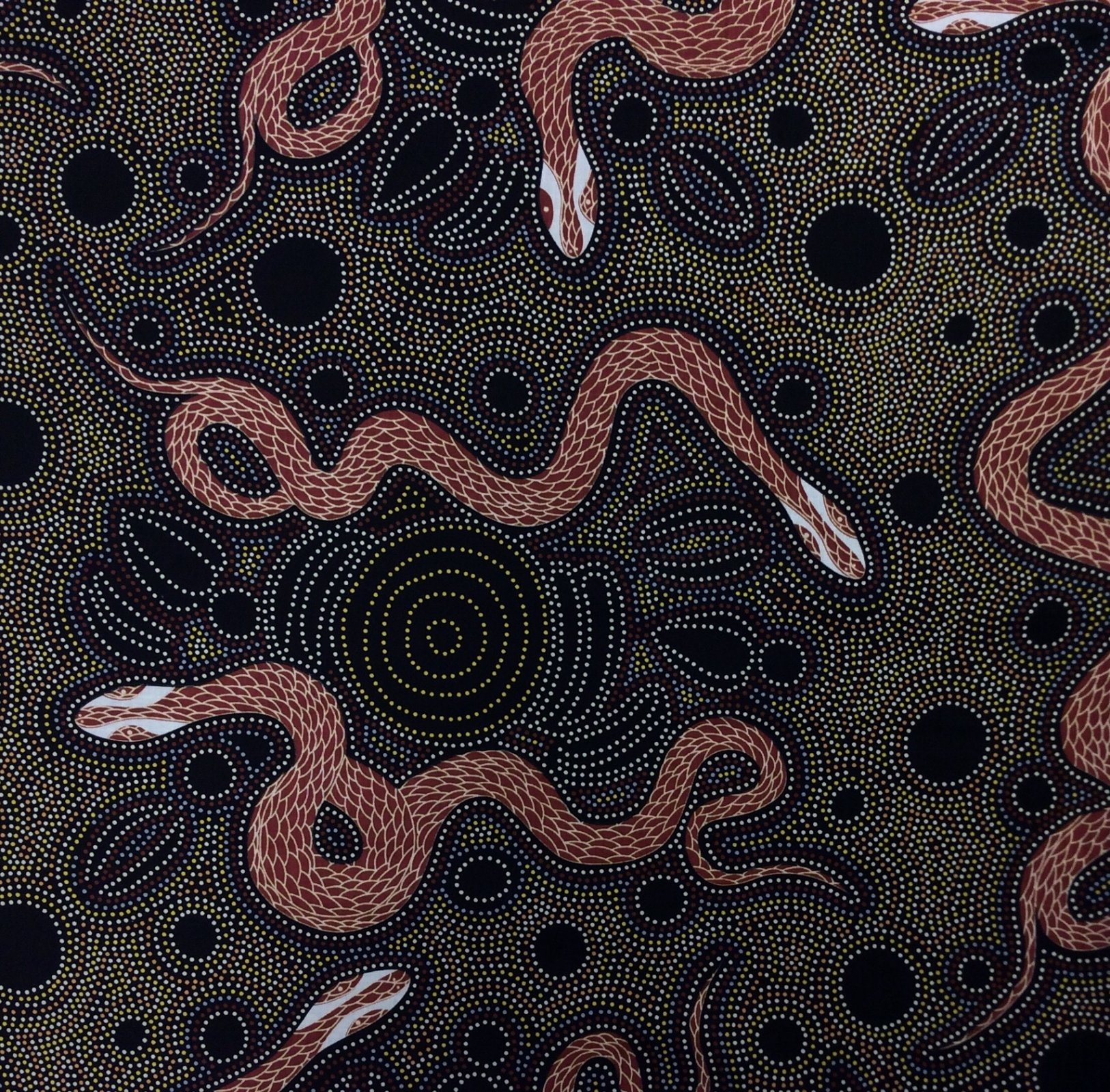 Aborigine Australian Snakes & Emu Eggs Dots Aborigine Cotton Quilt Fabric MS20