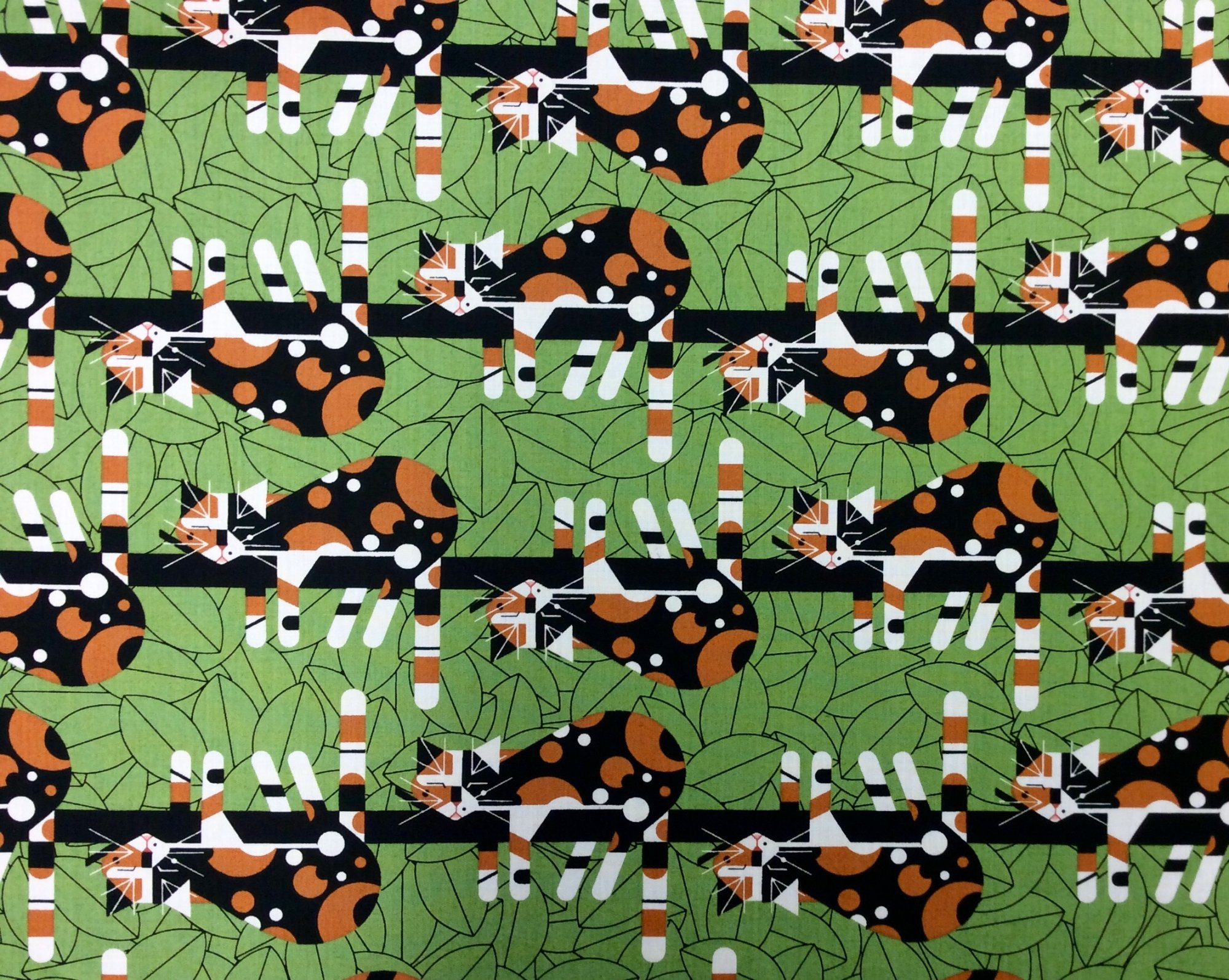 Charley Harper Limp on a Limb Backyard Kitty Cat Organic Cotton Quilt Fabric CHB76