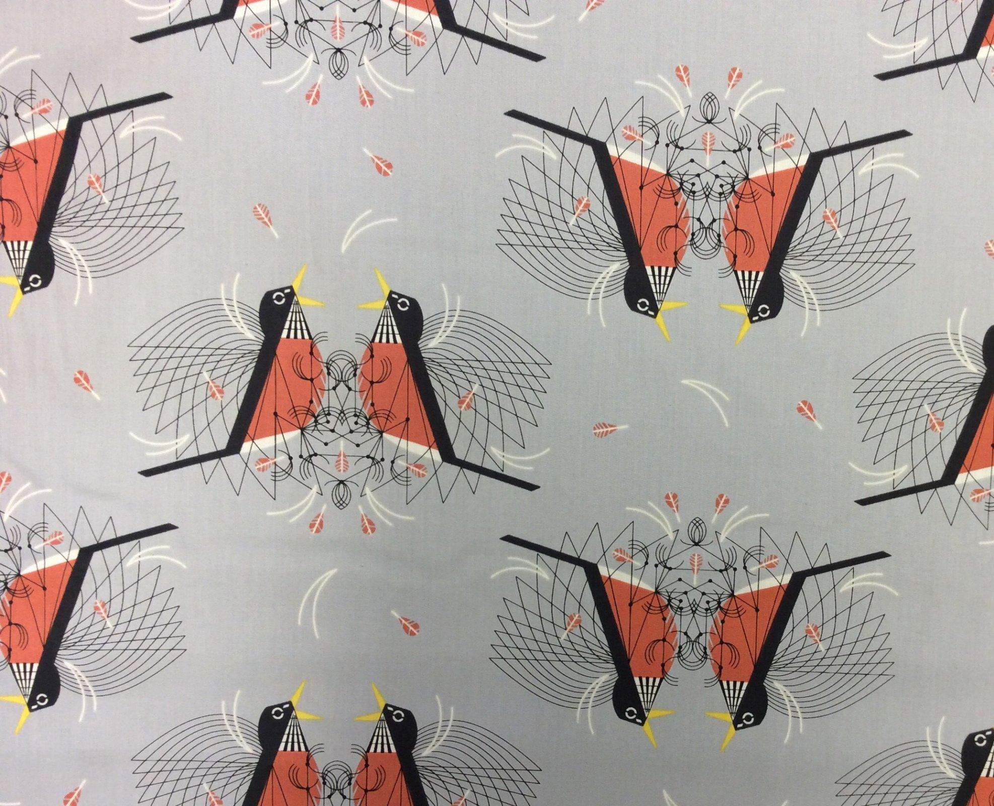Charley Harper Round Robin Backyard Song Birds Organic Cotton Quilt Fabric CHB79