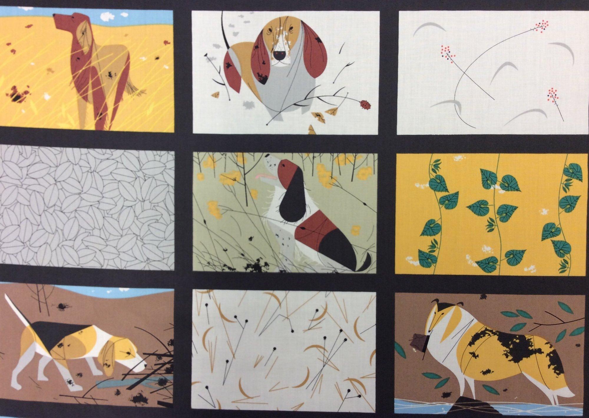 Charley Harper Backyard Dogs Cheater Blocks Organic Cotton Quilt Fabric CHB81