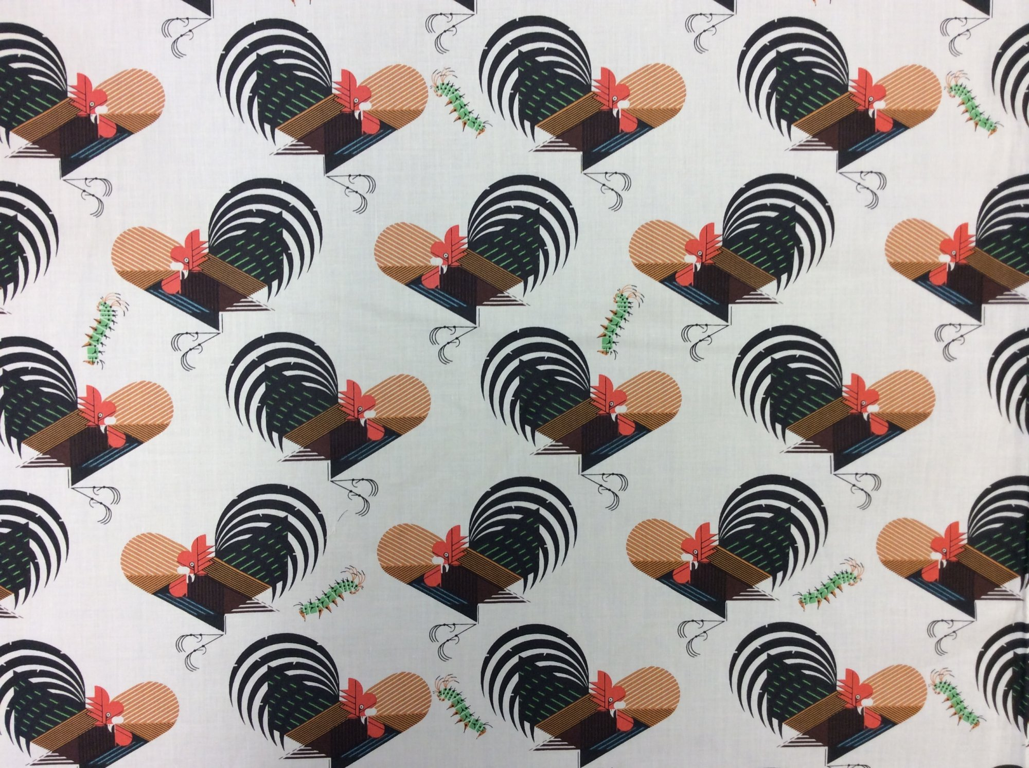 Charley Harper Crawling Tale Backyard Rooster Organic Cotton Quilt Fabric CHB83