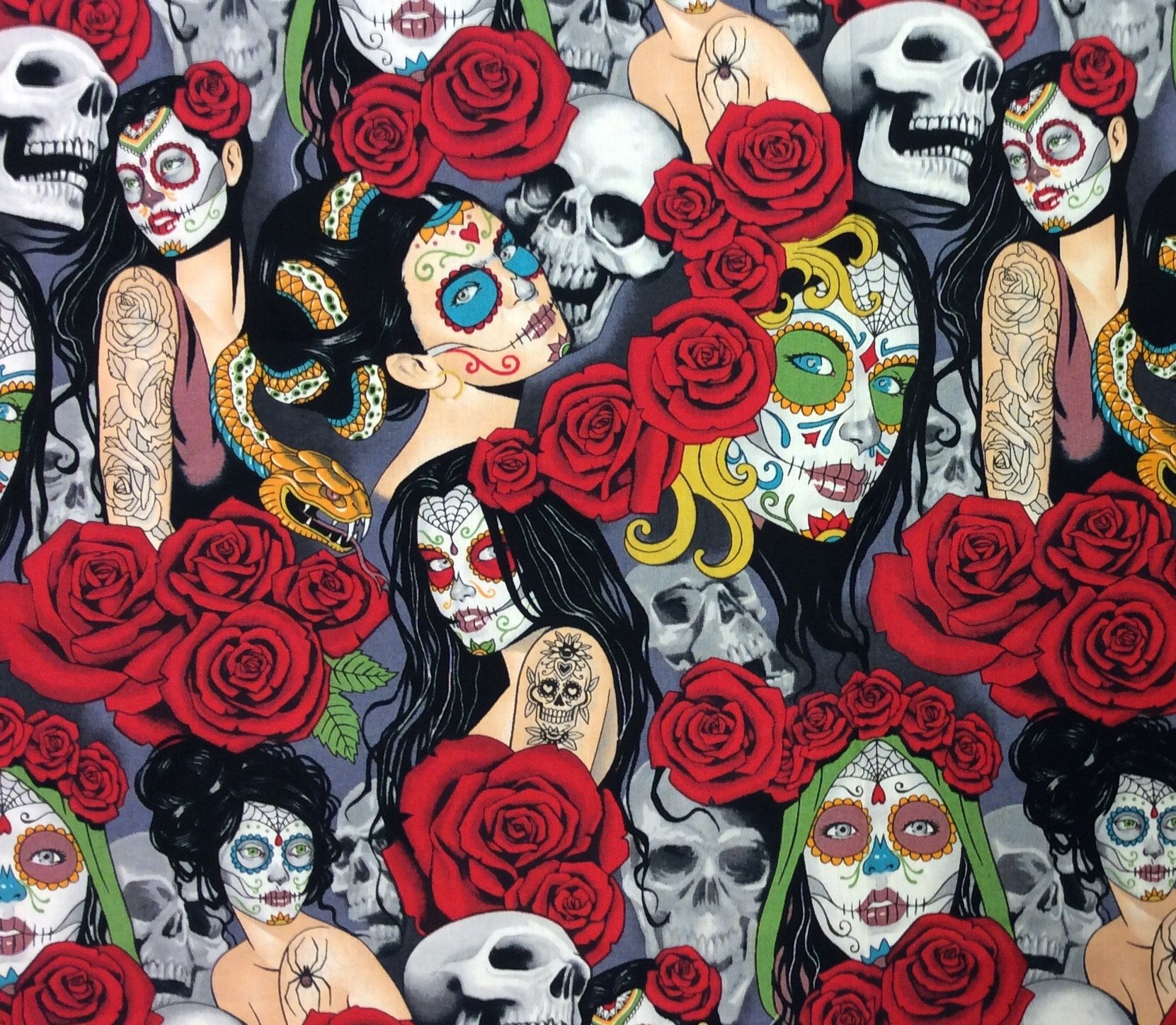 Las Elegantes Nocturna Sexy Pin Up Girls Goth Steampunk Skull Tattoo Cotton Quilt Fabric AH274