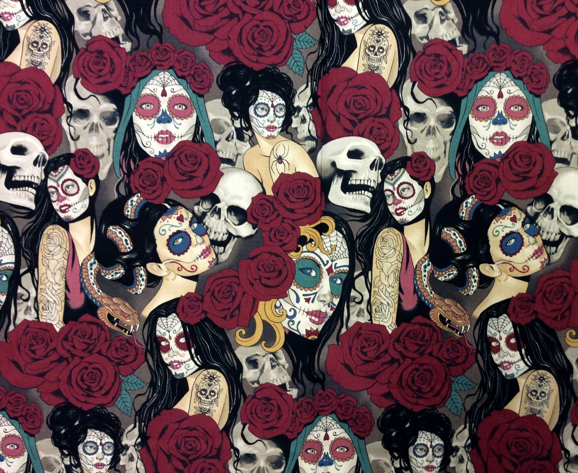 Las Elegantes Nocturna Sexy Pin Up Girls Goth Steampunk Skull Tattoo Cotton Quilt Fabric AH275