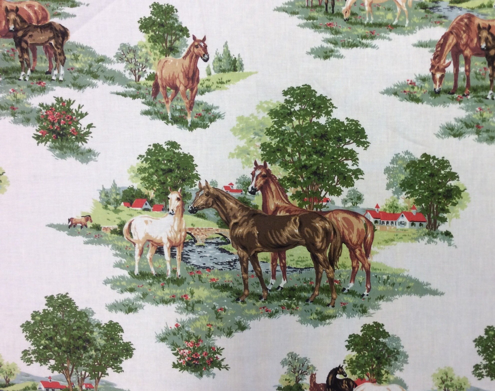 Pure Bred Horses Pasture Farm Thoroughbred Racing Kentucky Derby Preakness Belmont Cotton Quilt Fabric MO125