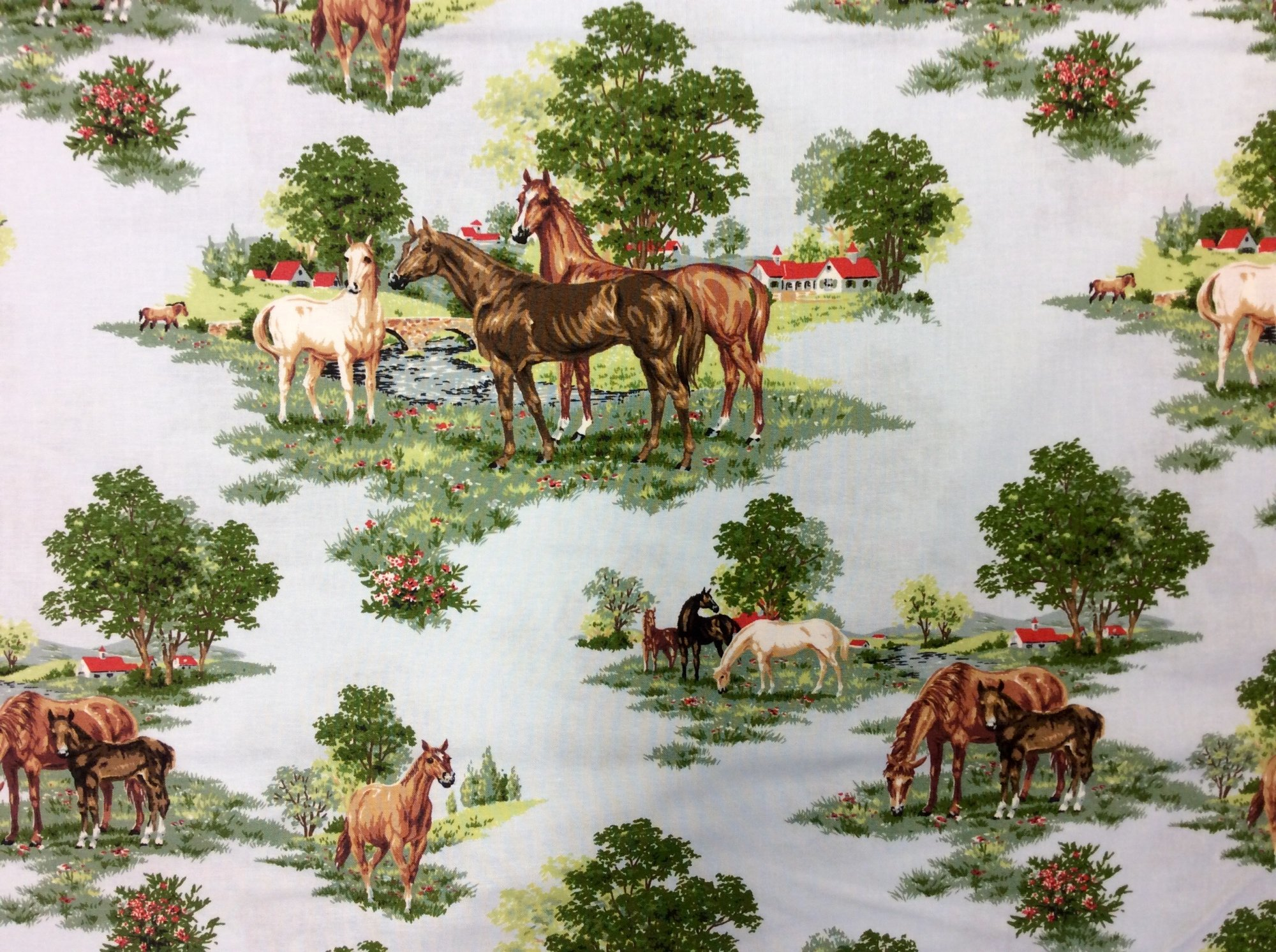 Pure Bred Horses Pasture Farm Thoroughbred Racing Kentucky Derby Preakness Belmont Cotton Quilt Fabric MO126