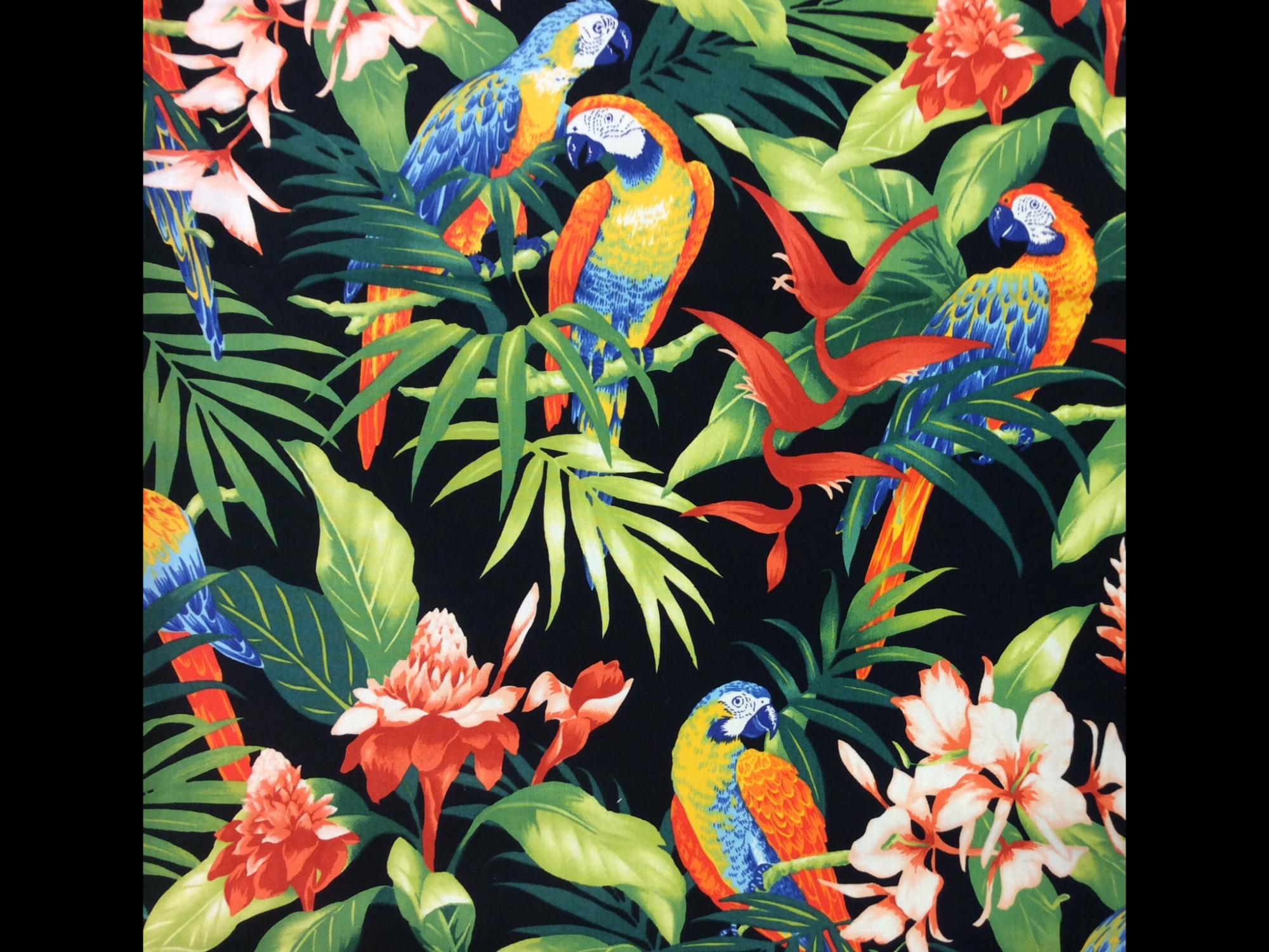 Hawaiian Tropical Parrot Bird Floral Orchid Bird of Paradise Tiki Luau Cotton Quilt Fabric TP043