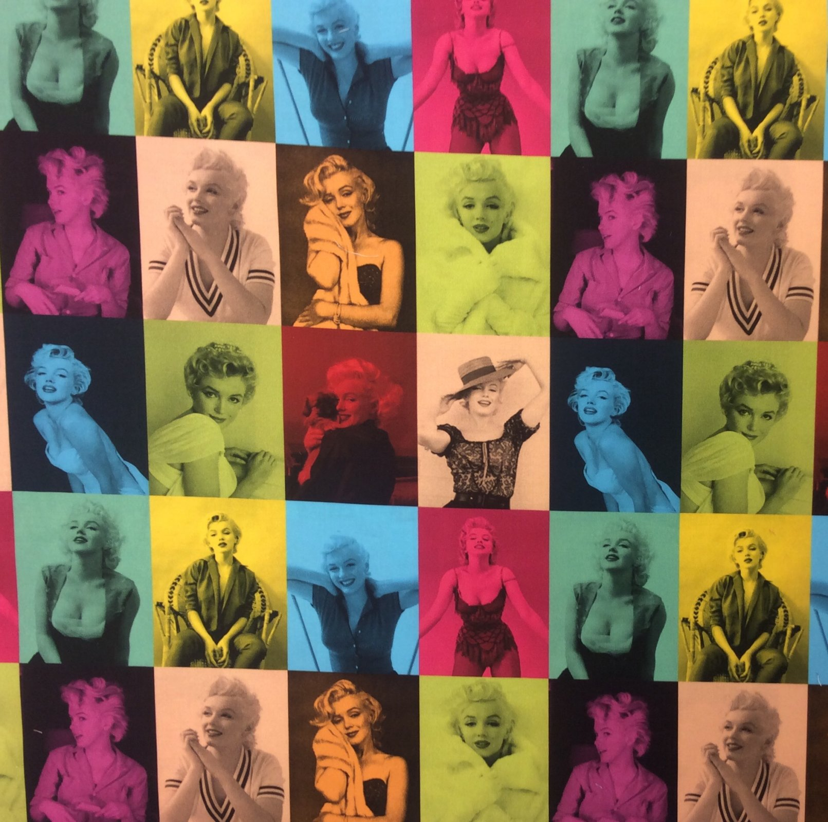 Marilyn Monroe Glamorous Sexy Starlet Movie Star Color Block Publicity Photos Cotton Quilt Fabric RK186