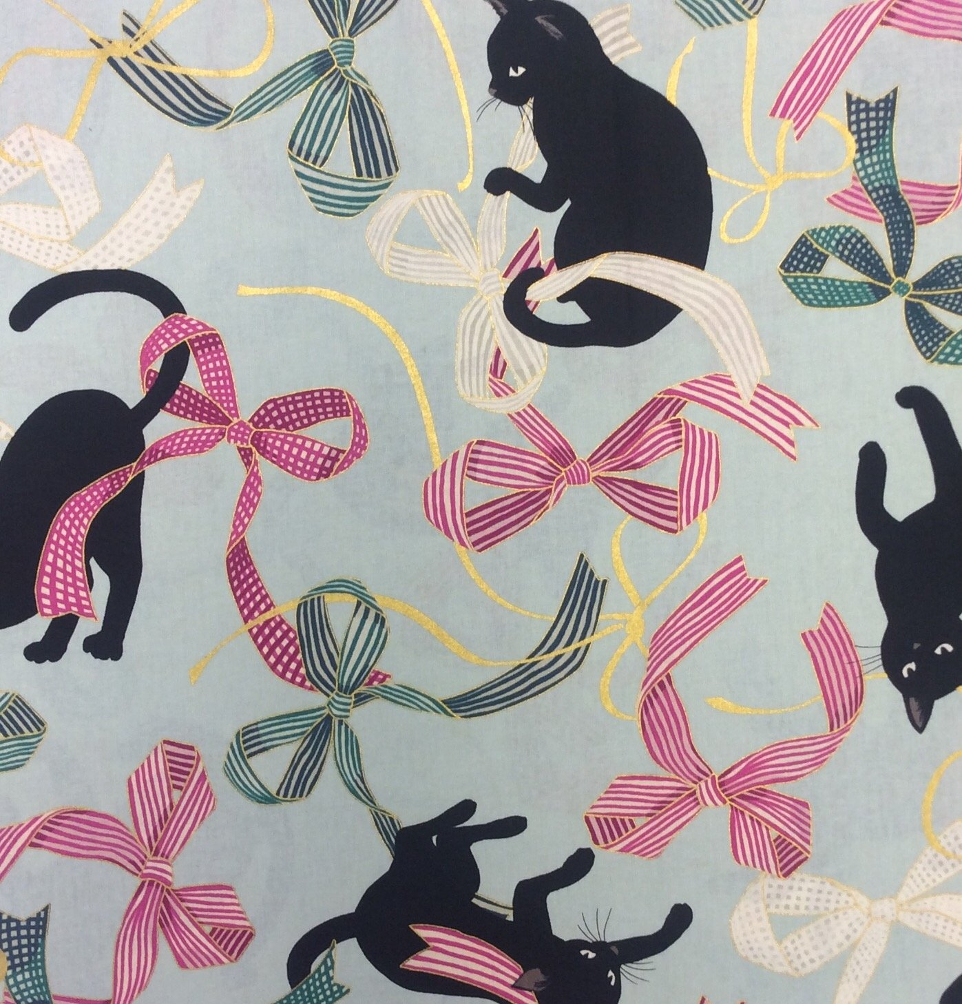 Neko Kitty Cat Japanese Asian Retro Kitten & Bows Cotton Quilt Fabric NT80