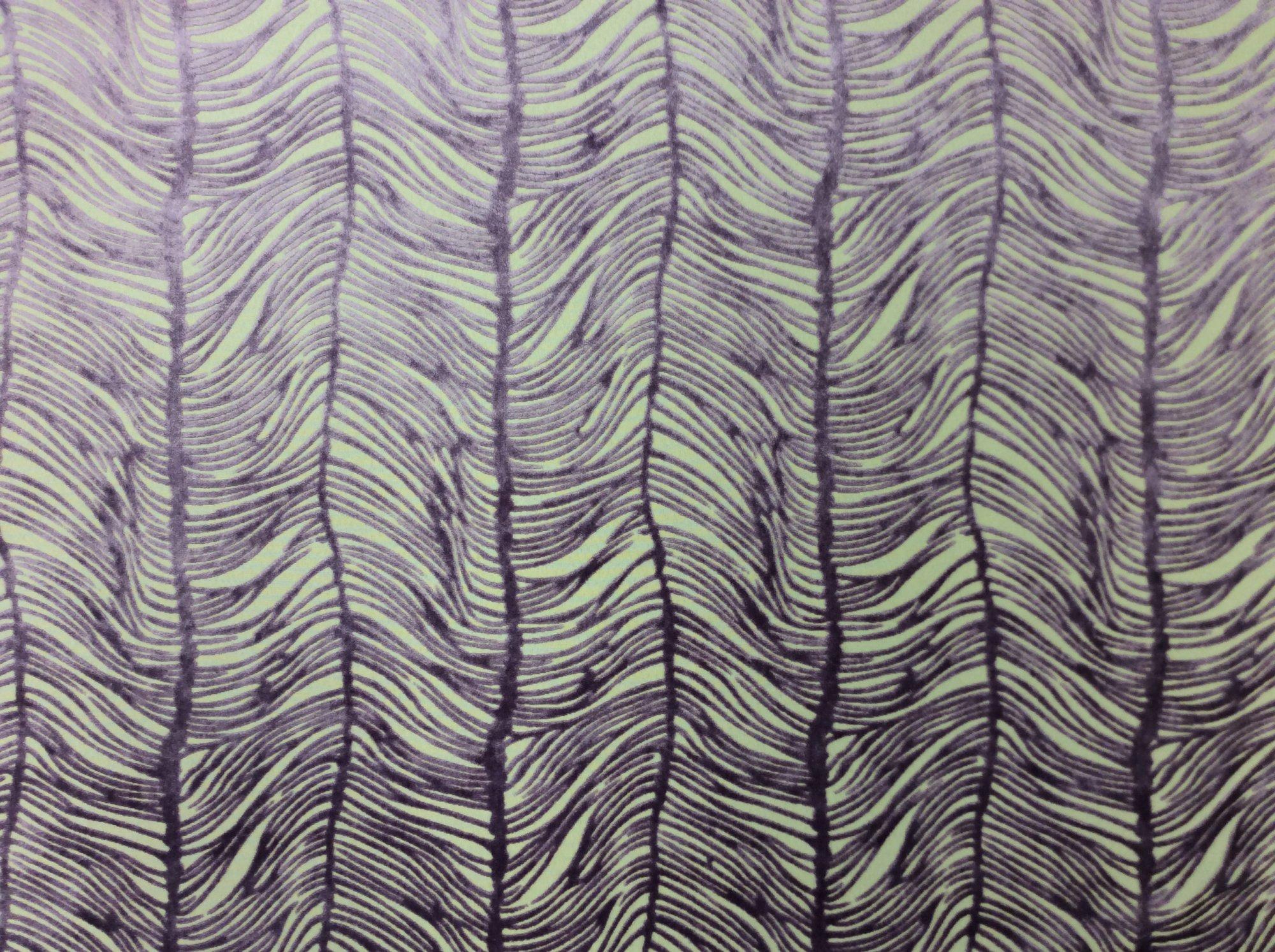 Peacock Plume Luxurious Cut Velvet Wisteria Purple Heavy Velvet Upholstery Fabric LHD151-B