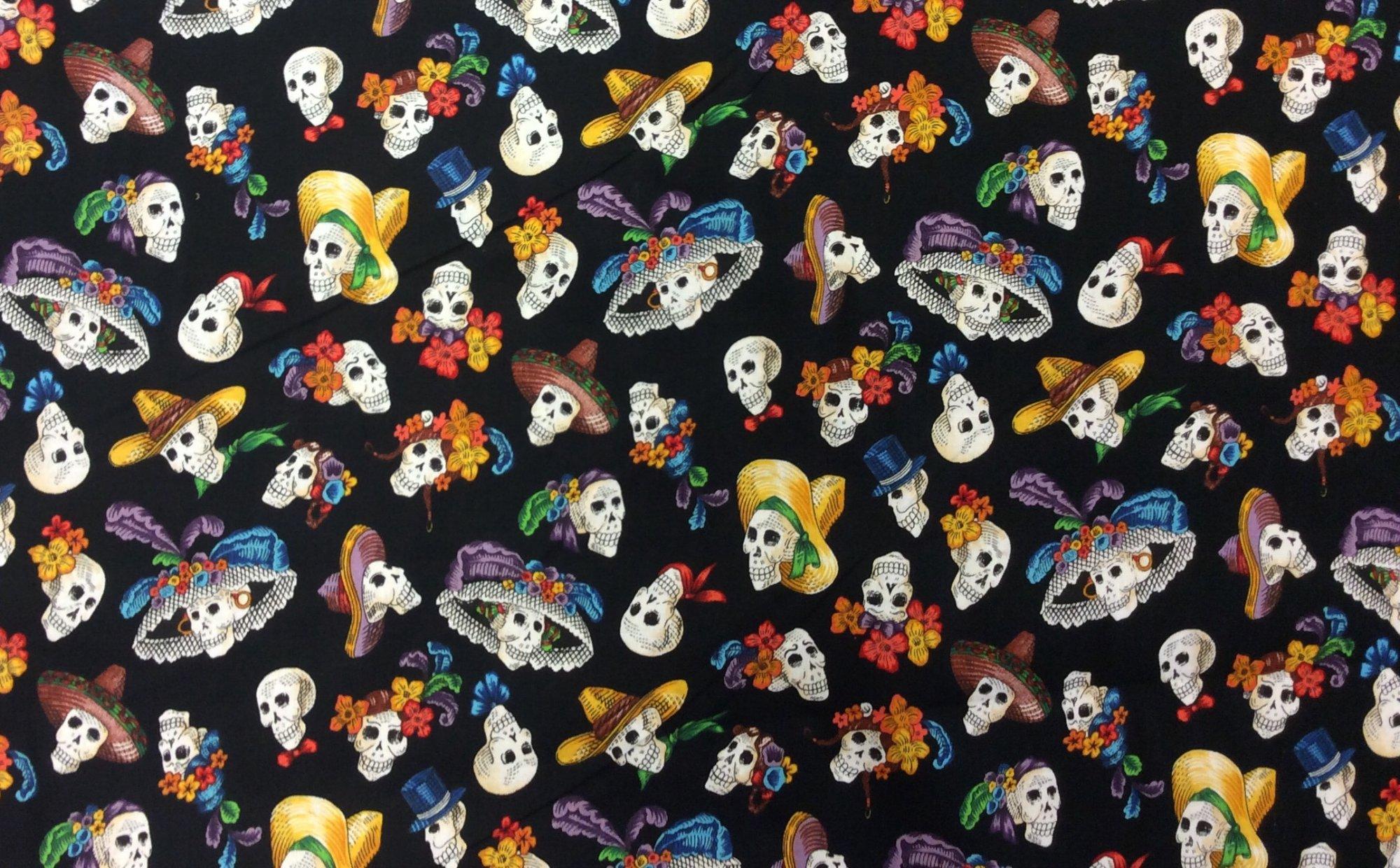 Calaveras Dia de Los Muertos Day of the Dead Mexico Skull Jose Guadalupe Posada Cotton fabric Quilt fabric AH297