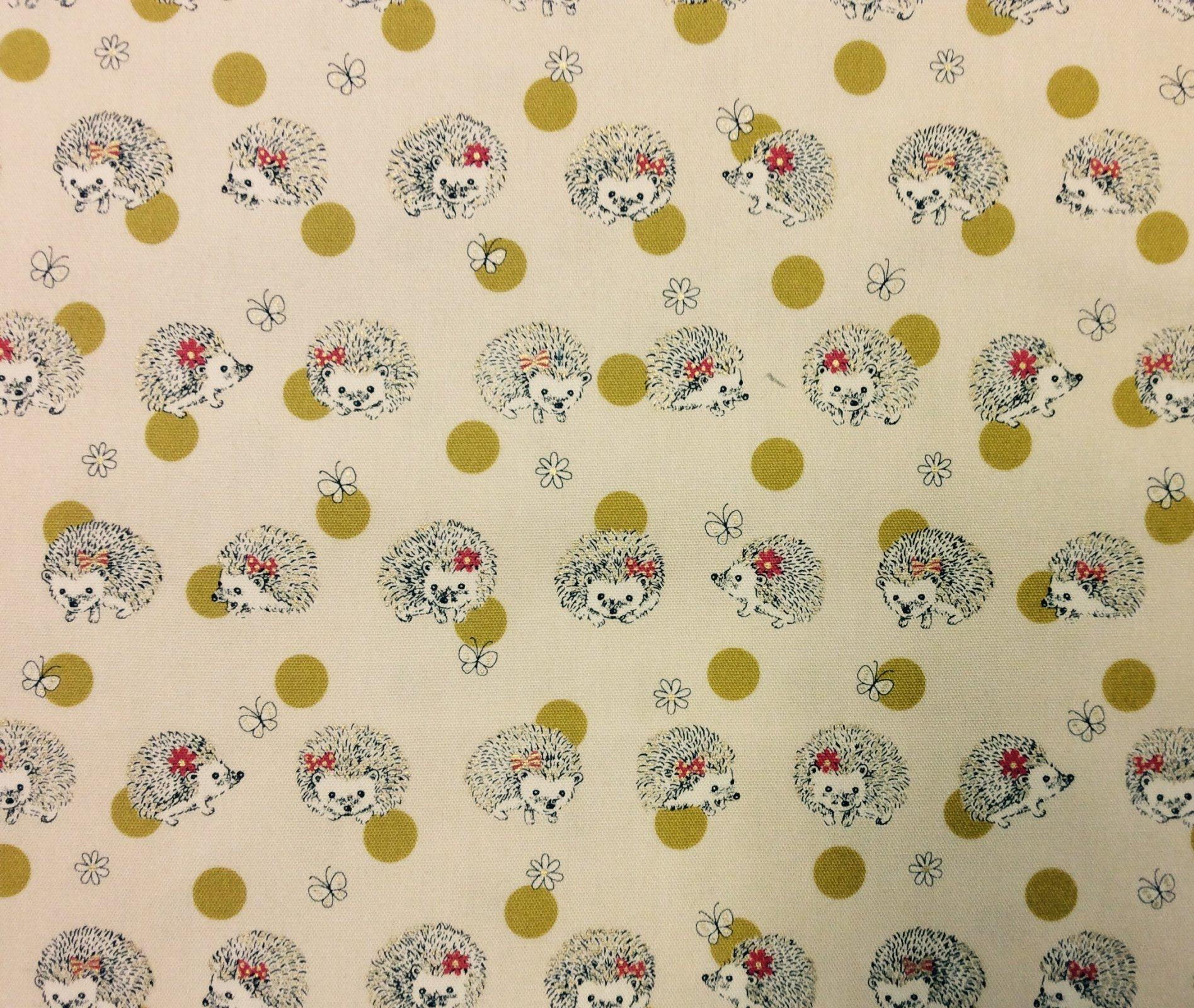 Hedgehog Cute Animals Kokka Japan Cotton Canvas Fabric SK53