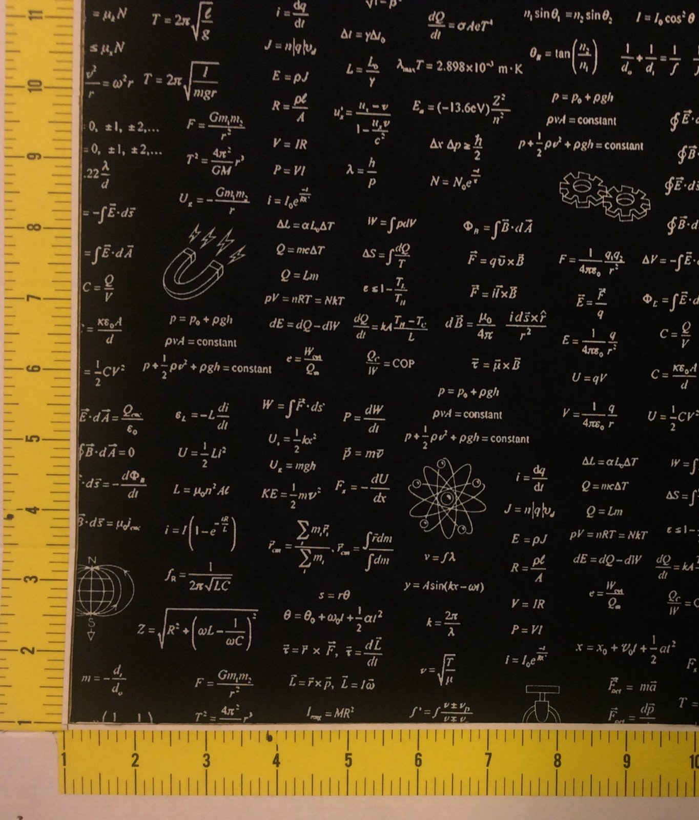 STEM Equations Physics Science Math Chemistry Tesla Newton Cotton Quilt Fabric RK199
