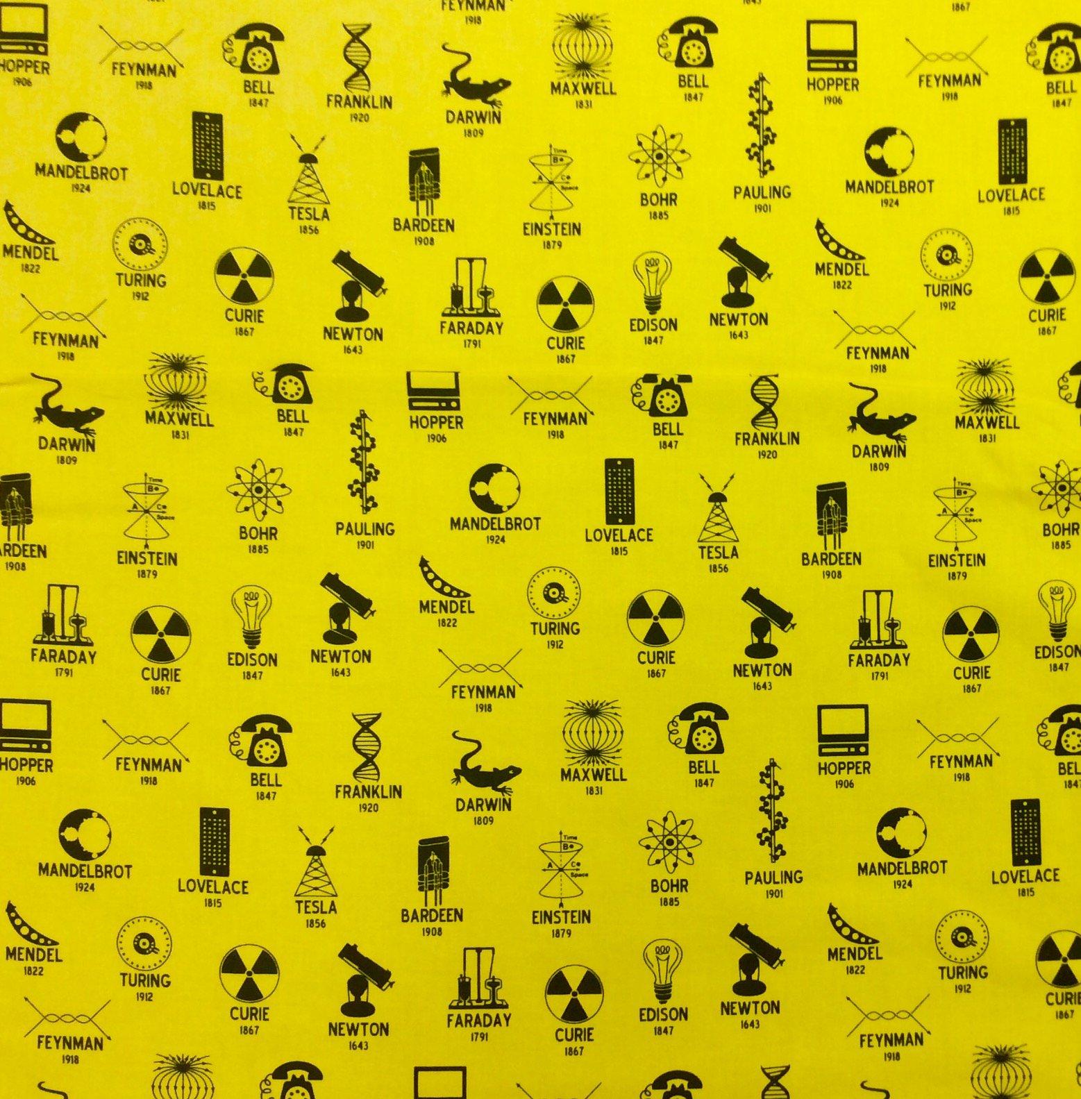 STEM Physics Science Math Chemistry Radiation Energy Tesla Newton Cotton Quilt Fabric RK201