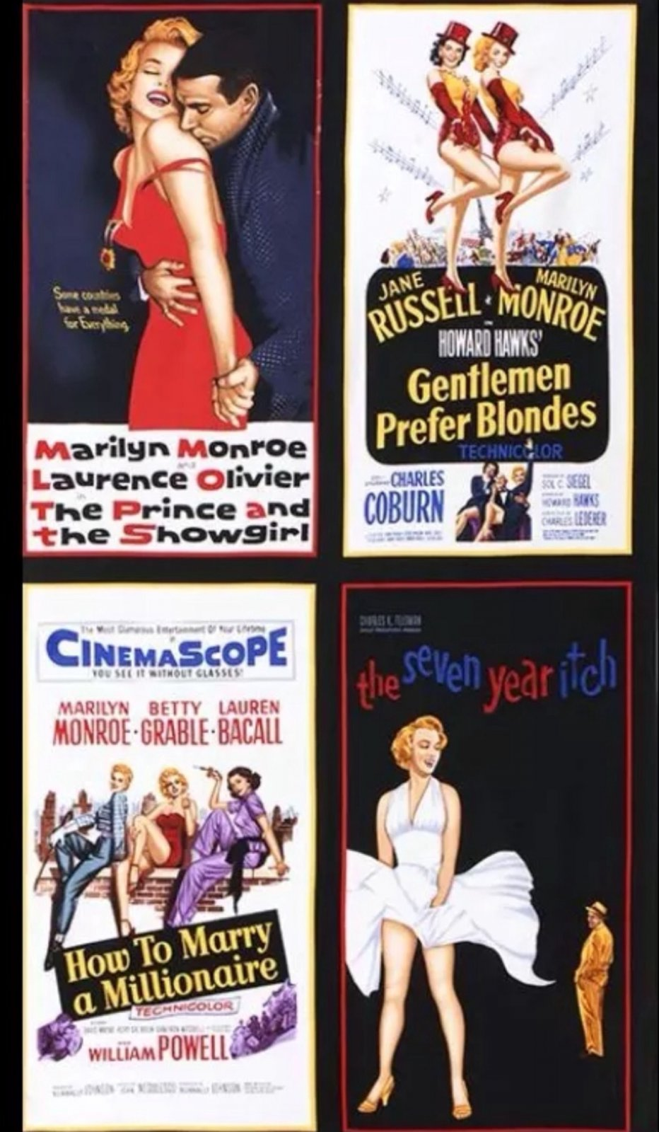Marilyn Monroe Silver Screen Sexy Blonde Bombshell Movie Star Matinee Theater Movie Poster Cotton Quilt Fabric Four Poster Panel Print PNL105