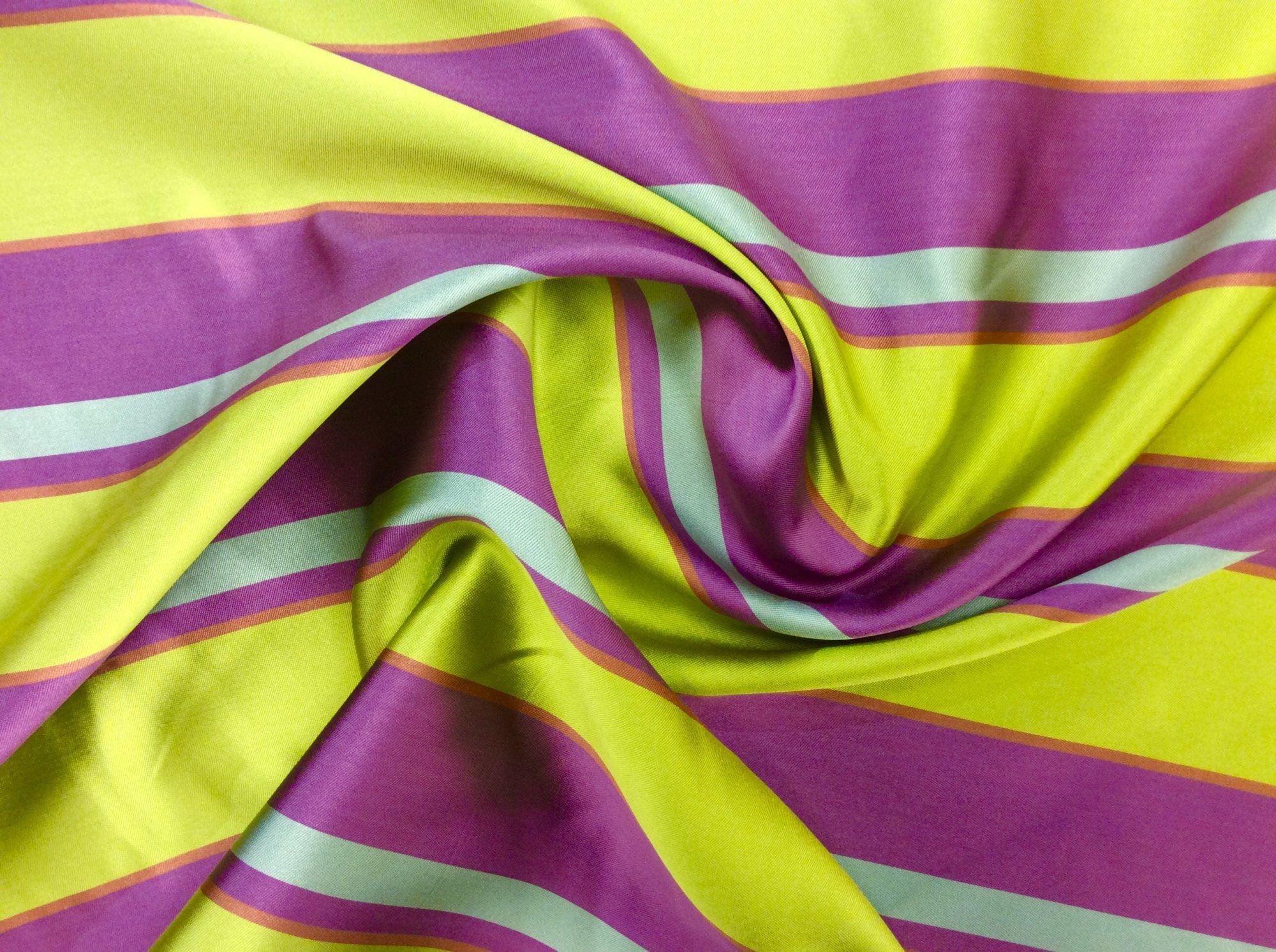 Trina Turk Striped 4 ply  Silk Made in Italy Designer Apparel Fabric TT4584