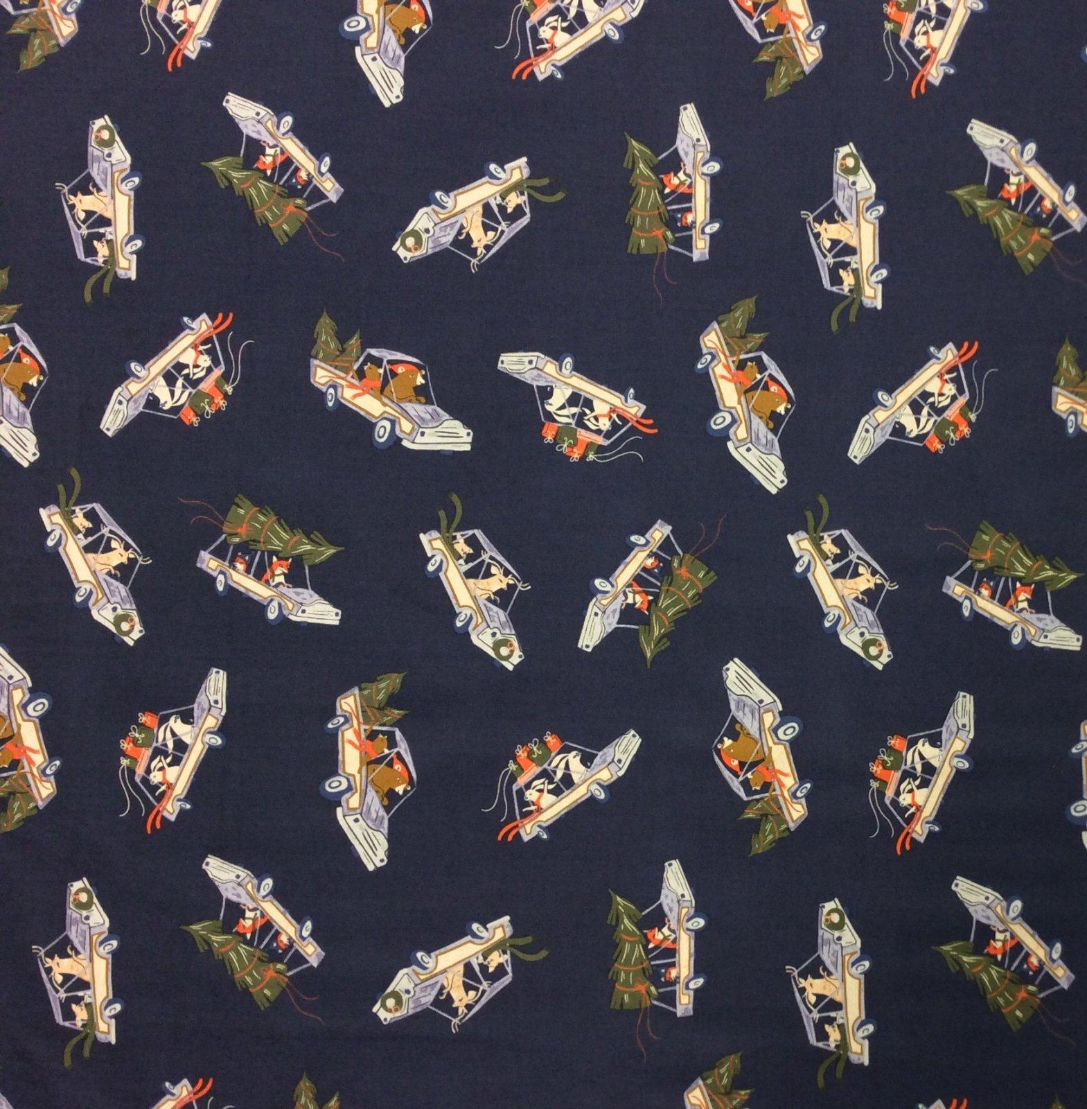 Bunny Rabbit Getaway Christmas Bandits Fun Retro Cotton Quilt Fabric CHE029