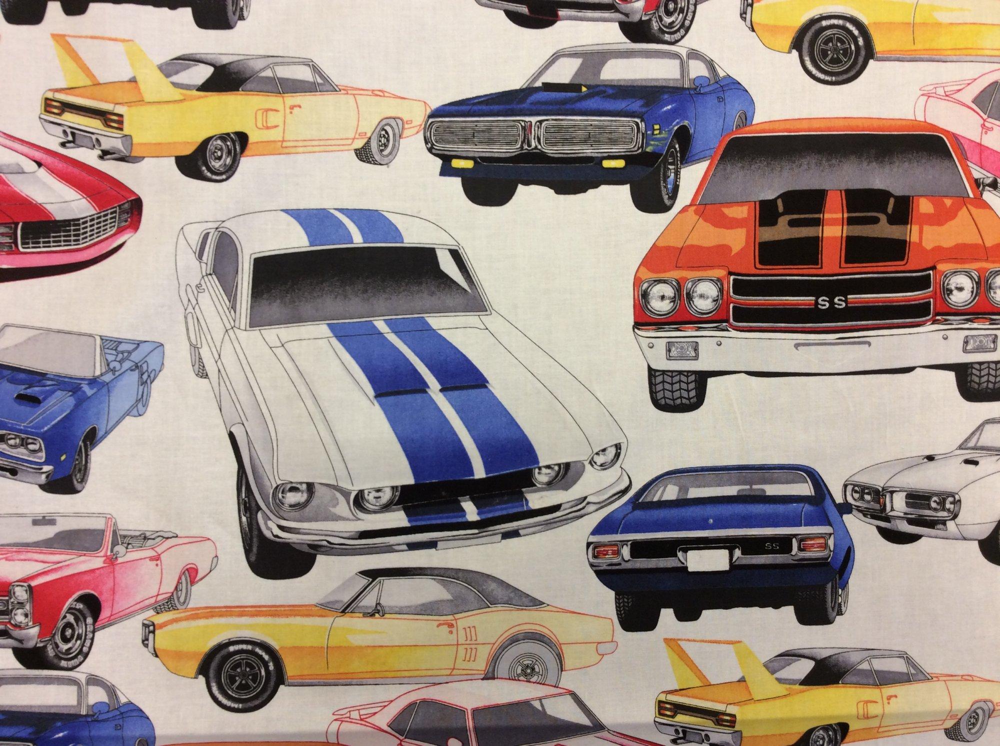 LAST PIECE! 29 X 44 Muscle Car Retro Super Sport Cotton Quilt Fabric PCAH307