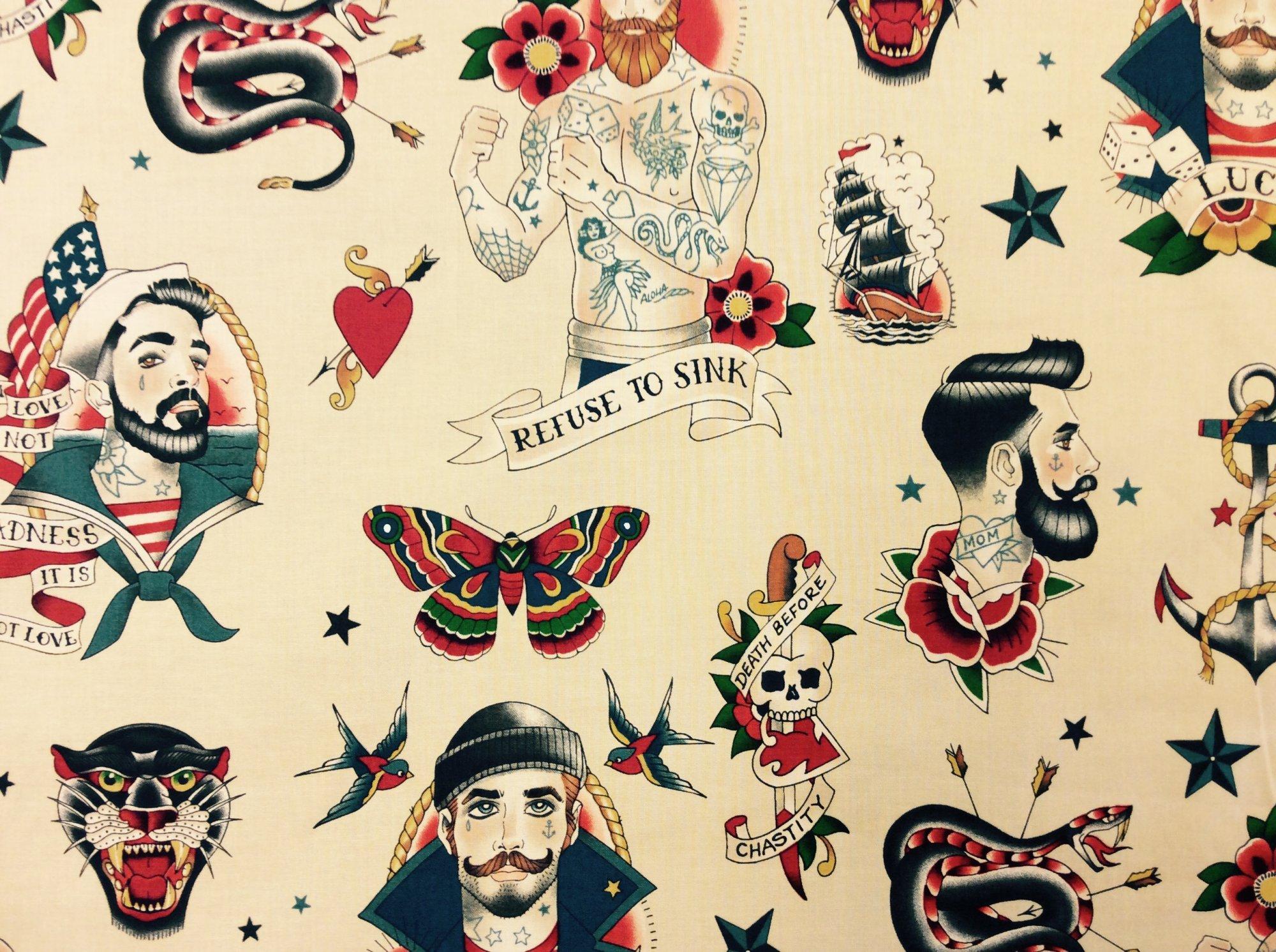 Tattoo Sailor Pin Up Men Retro Barber Hipster Cotton Quilt Fabric AH306