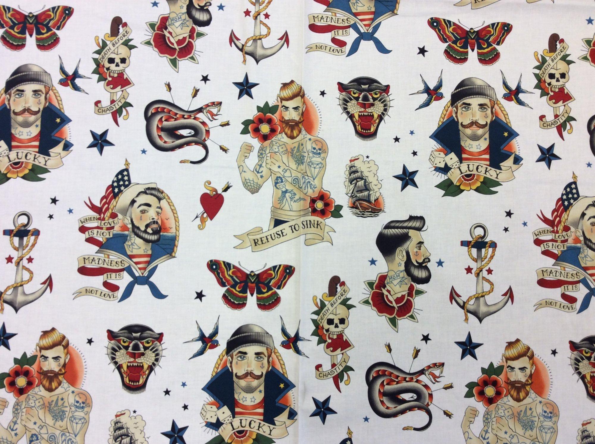 Tattoo Sailor Pin Up Men Retro Barber Hipster Cotton Quilt Fabric AH305