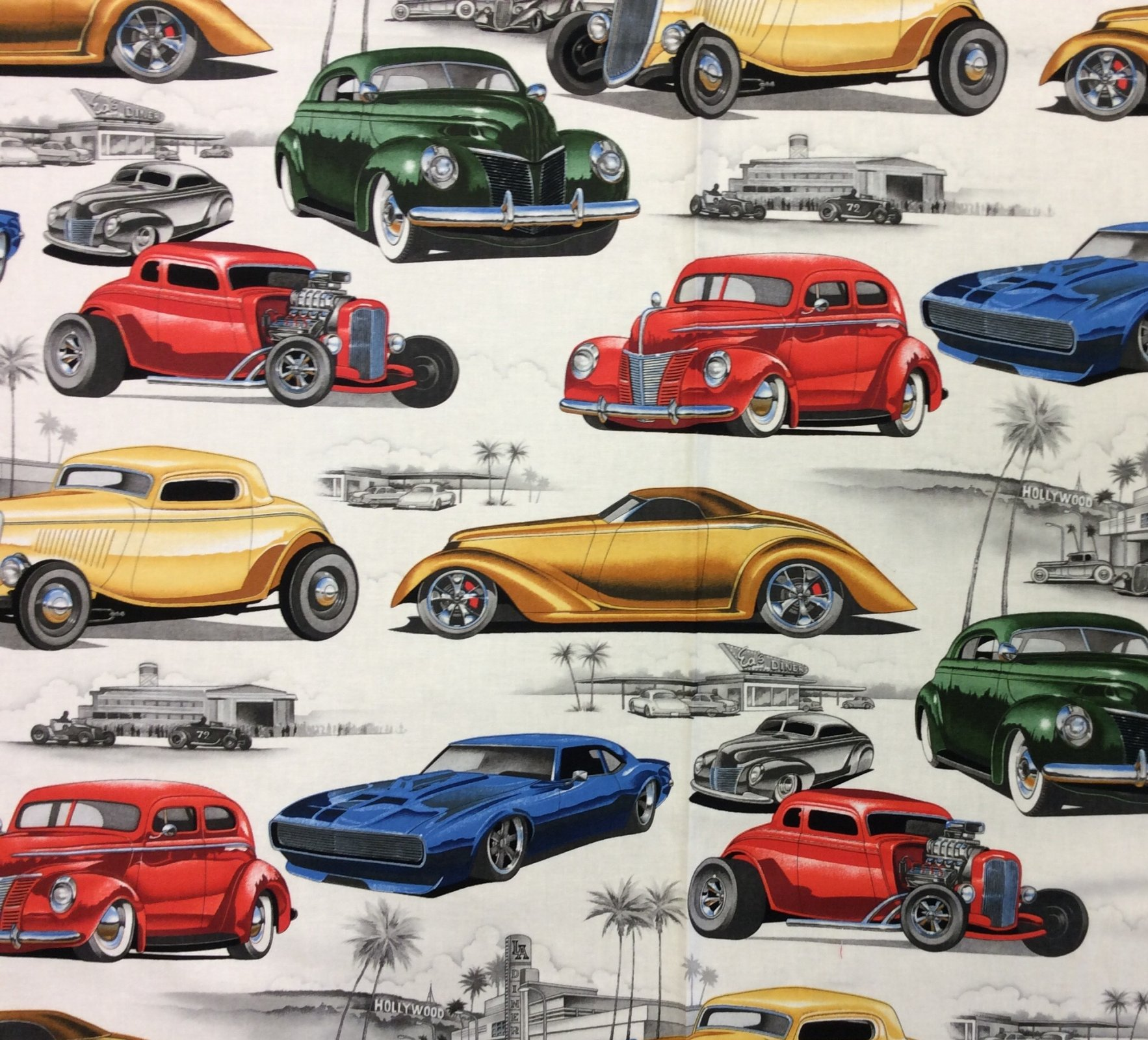 Hot Rods Retro Race Cars Street Racing Cotton Quilt Fabric AH304
