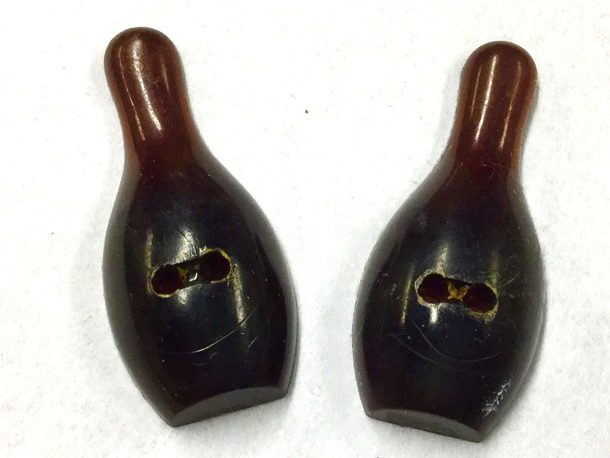 Bowling Pin Vintage Plastic Sewing Buttons Set of Two 1 3/8 Tall AVB206
