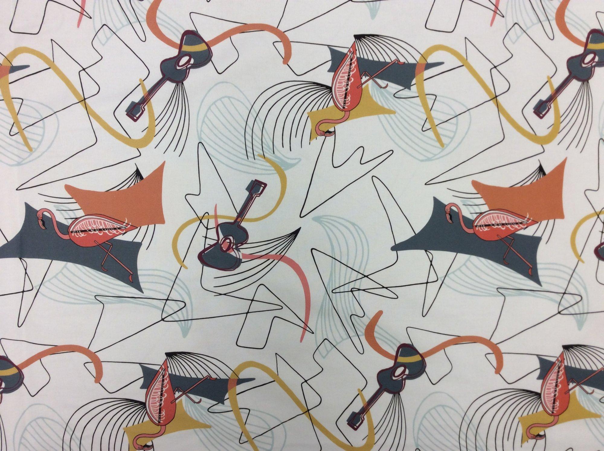 Atomic Retro Mid Century Modern Flamingo Guitar Boomerang Sputnik Space Age MCM Cotton Fabric HM26