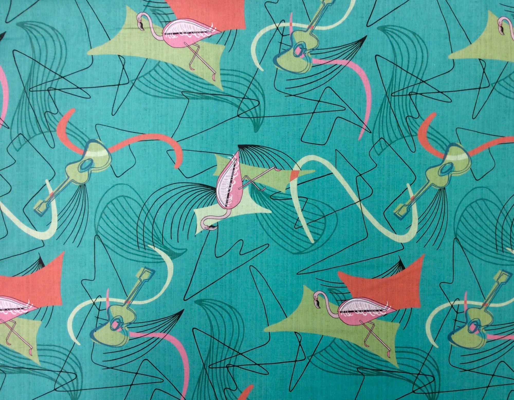 Atomic Retro Mid Century Modern Flamingo Guitar Boomerang Sputnik Space Age MCM Cotton Fabric Light Weight Canvas HM25