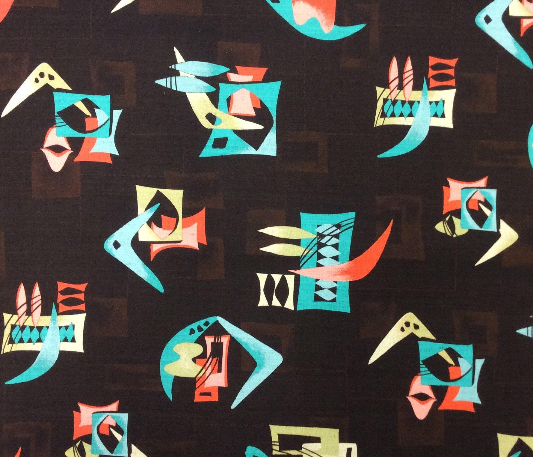 Atomic Retro Mid Century Modern Boomerang Sputnik Space Age MCM Cotton Fabric Light Weight Canvas HM27