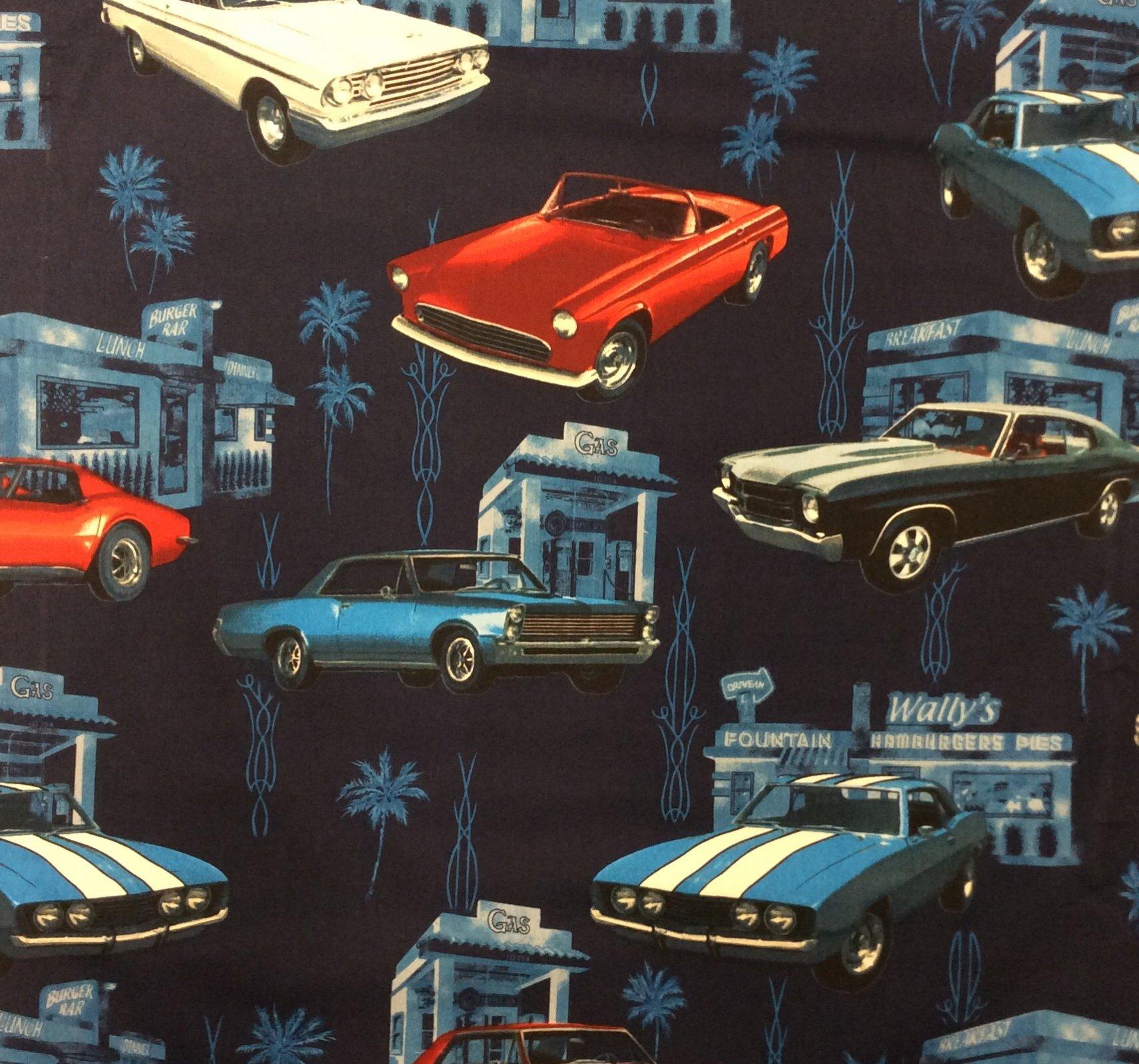 Retro Sports Car Hot Rod Vintage Diner Cotton Quilt Fabric HM33
